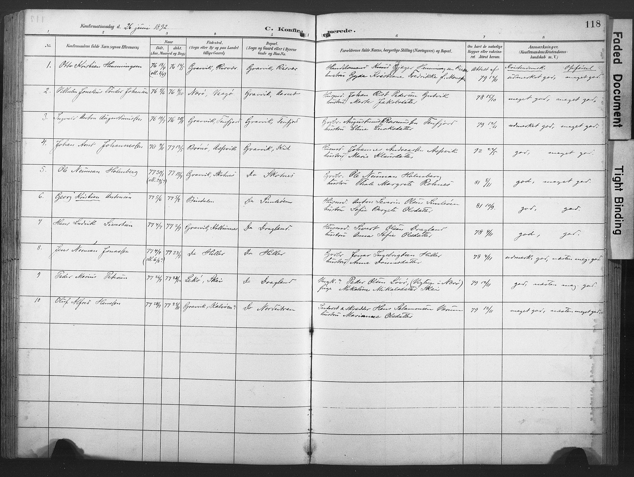 SAT, Ministerialprotokoller, klokkerbøker og fødselsregistre - Nord-Trøndelag, 789/L0706: Klokkerbok nr. 789C01, 1888-1931, s. 118