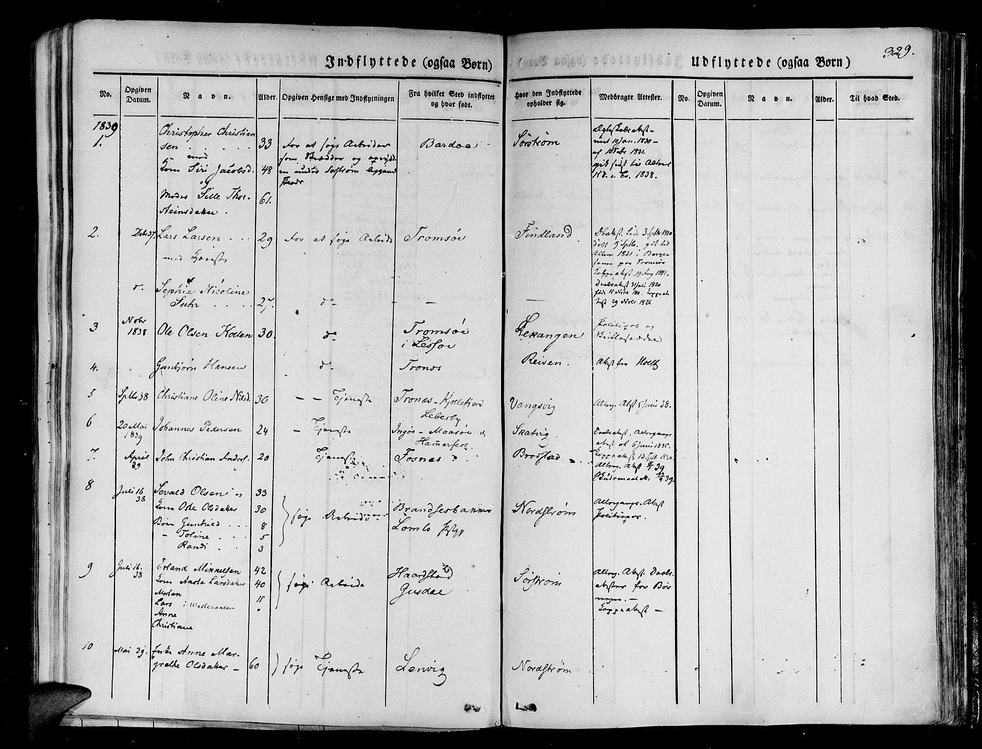 SATØ, Tranøy sokneprestkontor, I/Ia/Iaa/L0005kirke: Ministerialbok nr. 5, 1829-1844, s. 329