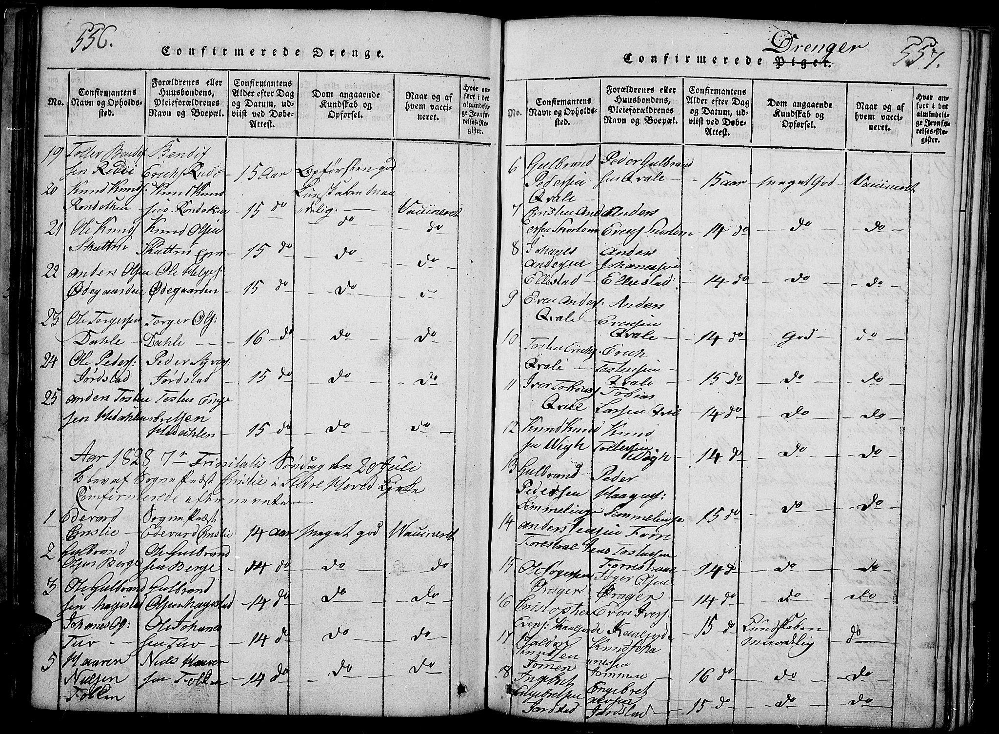 SAH, Slidre prestekontor, Ministerialbok nr. 2, 1814-1830, s. 556-557