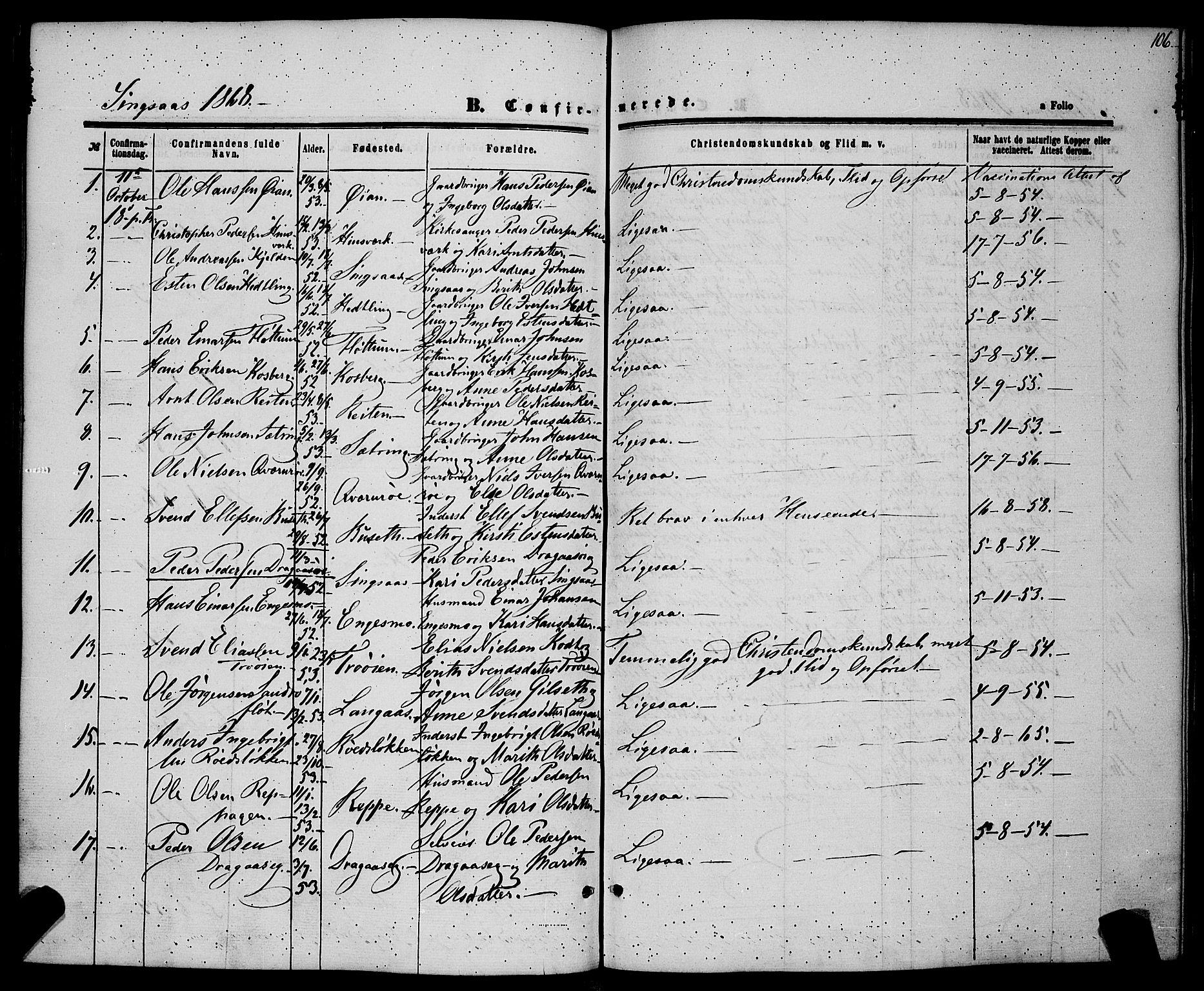 SAT, Ministerialprotokoller, klokkerbøker og fødselsregistre - Sør-Trøndelag, 685/L0967: Ministerialbok nr. 685A07 /2, 1860-1869, s. 106