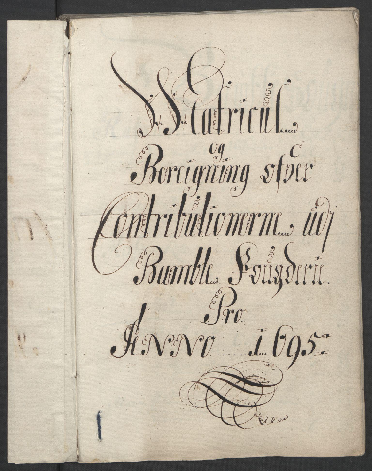 RA, Rentekammeret inntil 1814, Reviderte regnskaper, Fogderegnskap, R36/L2093: Fogderegnskap Øvre og Nedre Telemark og Bamble, 1695, s. 353