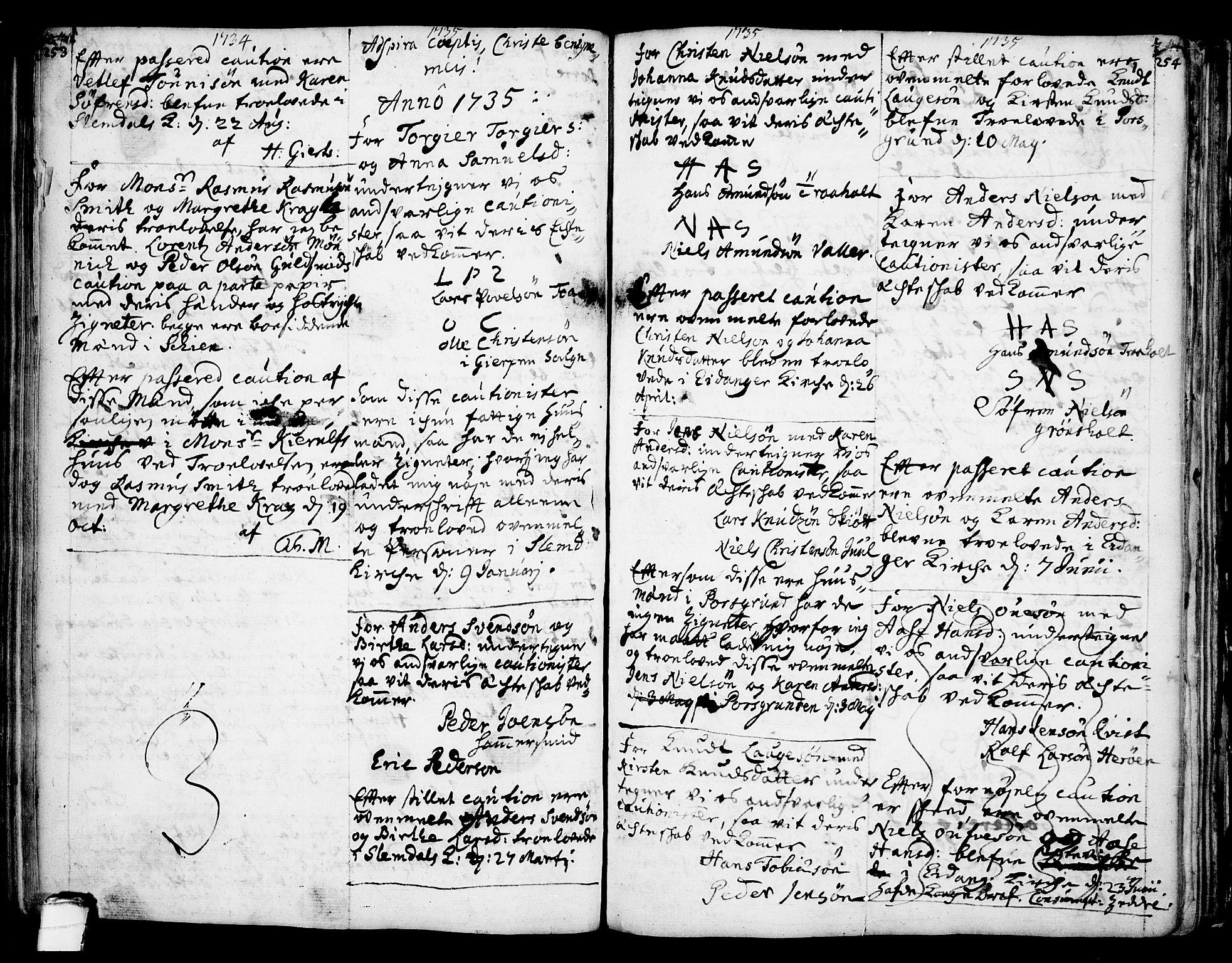 SAKO, Eidanger kirkebøker, F/Fa/L0004: Ministerialbok nr. 4, 1733-1759, s. 253-254