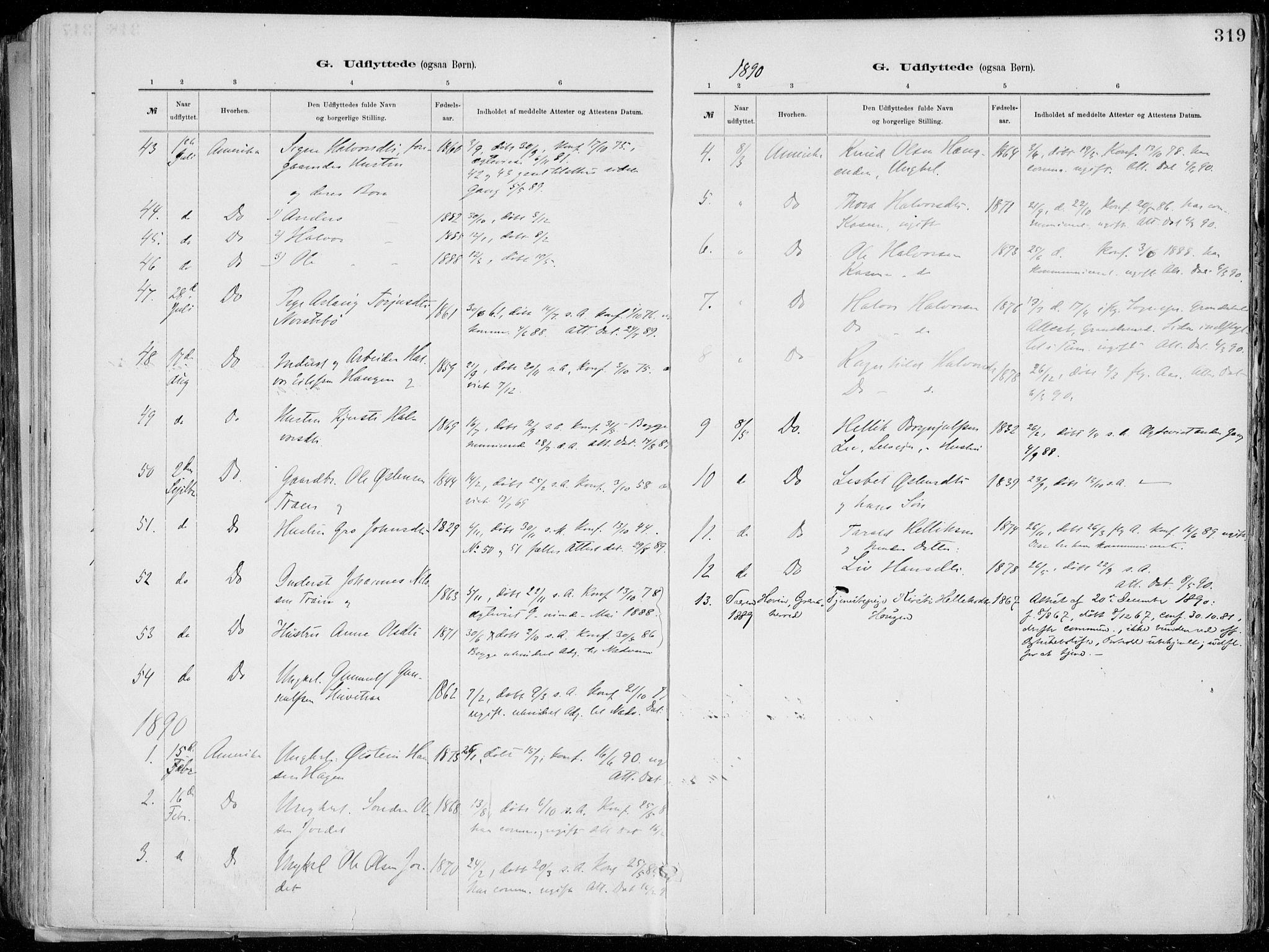 SAKO, Tinn kirkebøker, F/Fa/L0007: Ministerialbok nr. I 7, 1878-1922, s. 319