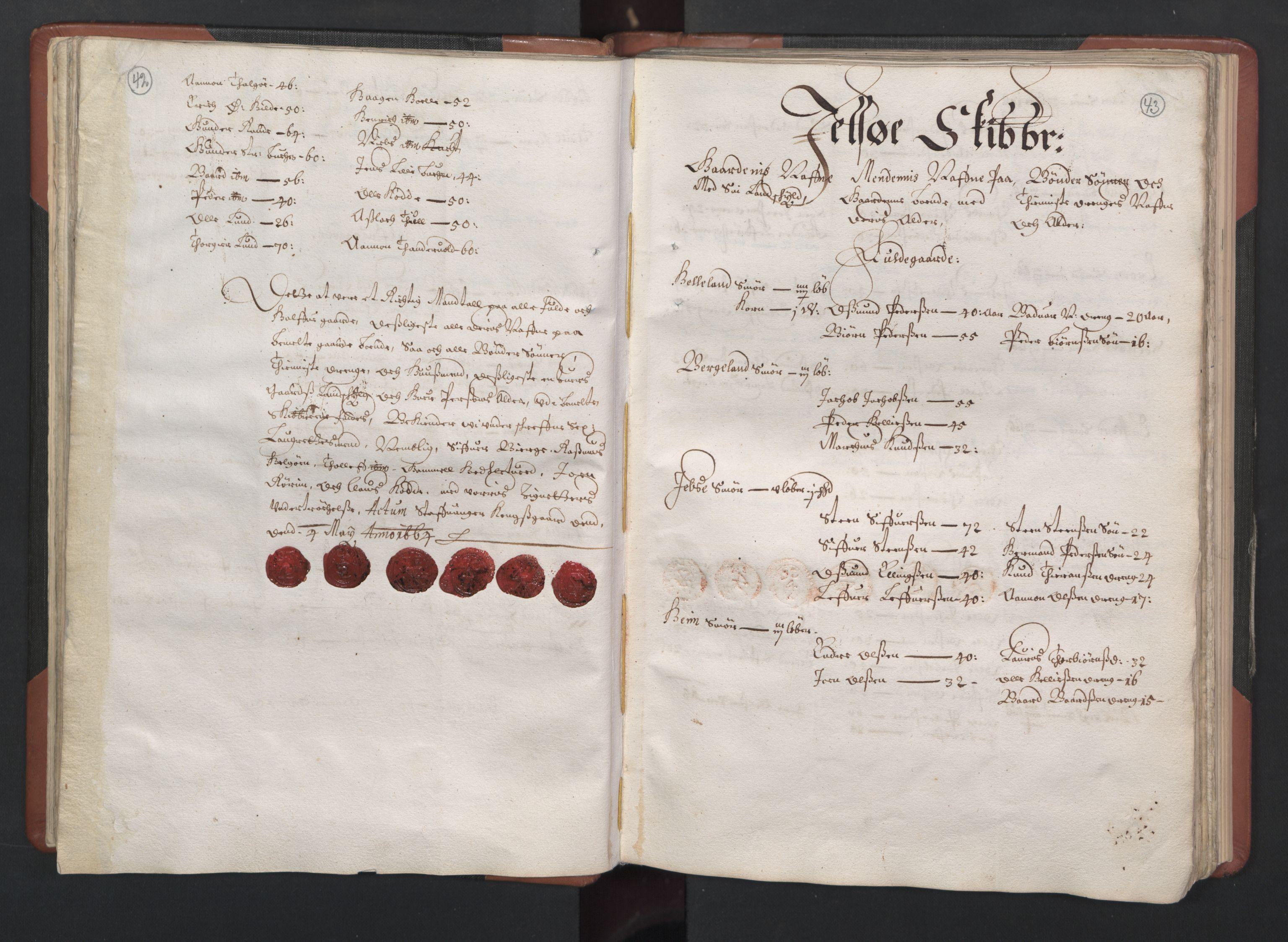 RA, Fogdenes og sorenskrivernes manntall 1664-1666, nr. 12: Ryfylke fogderi, 1664, s. 42-43