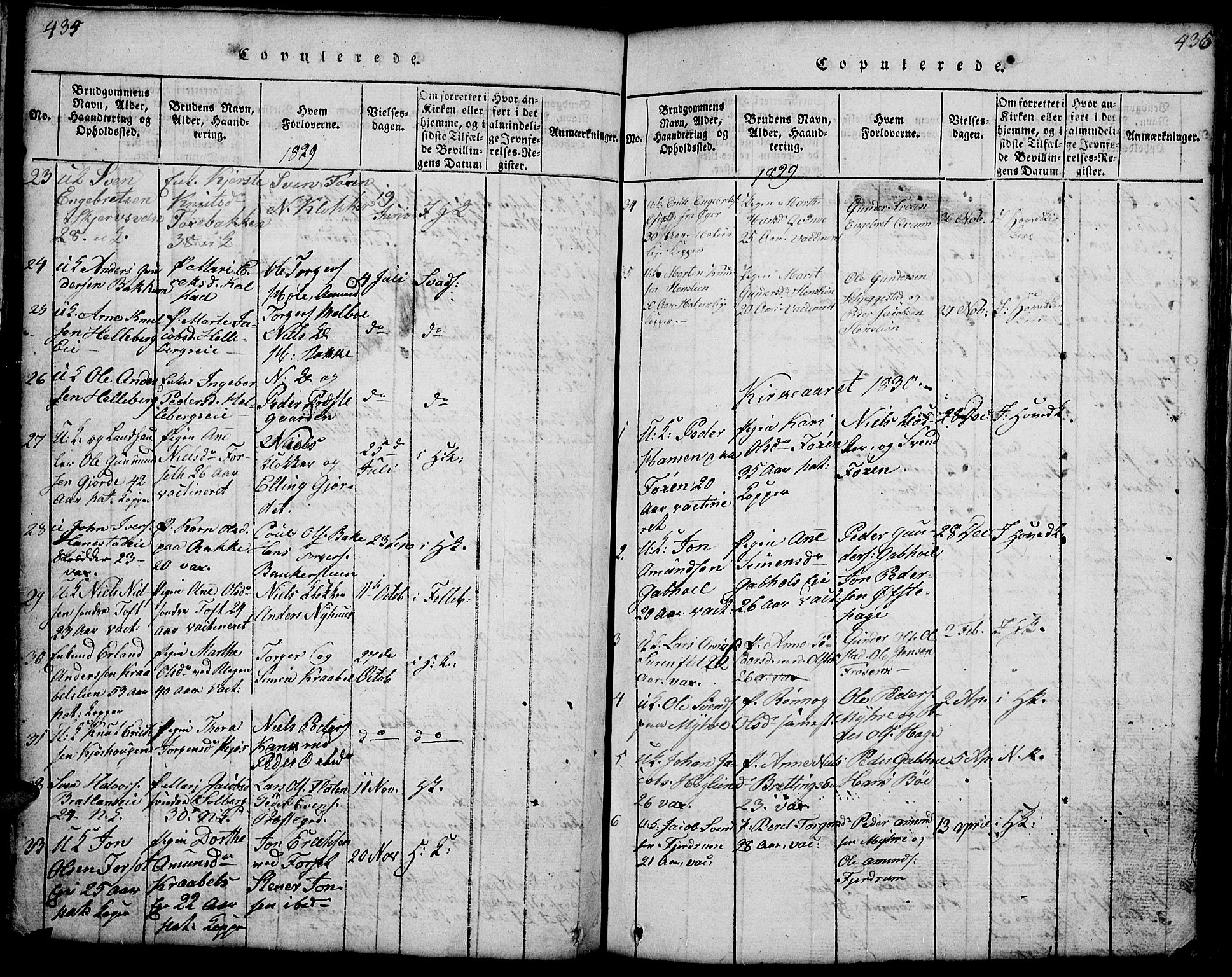 SAH, Gausdal prestekontor, Klokkerbok nr. 1, 1817-1848, s. 434-435