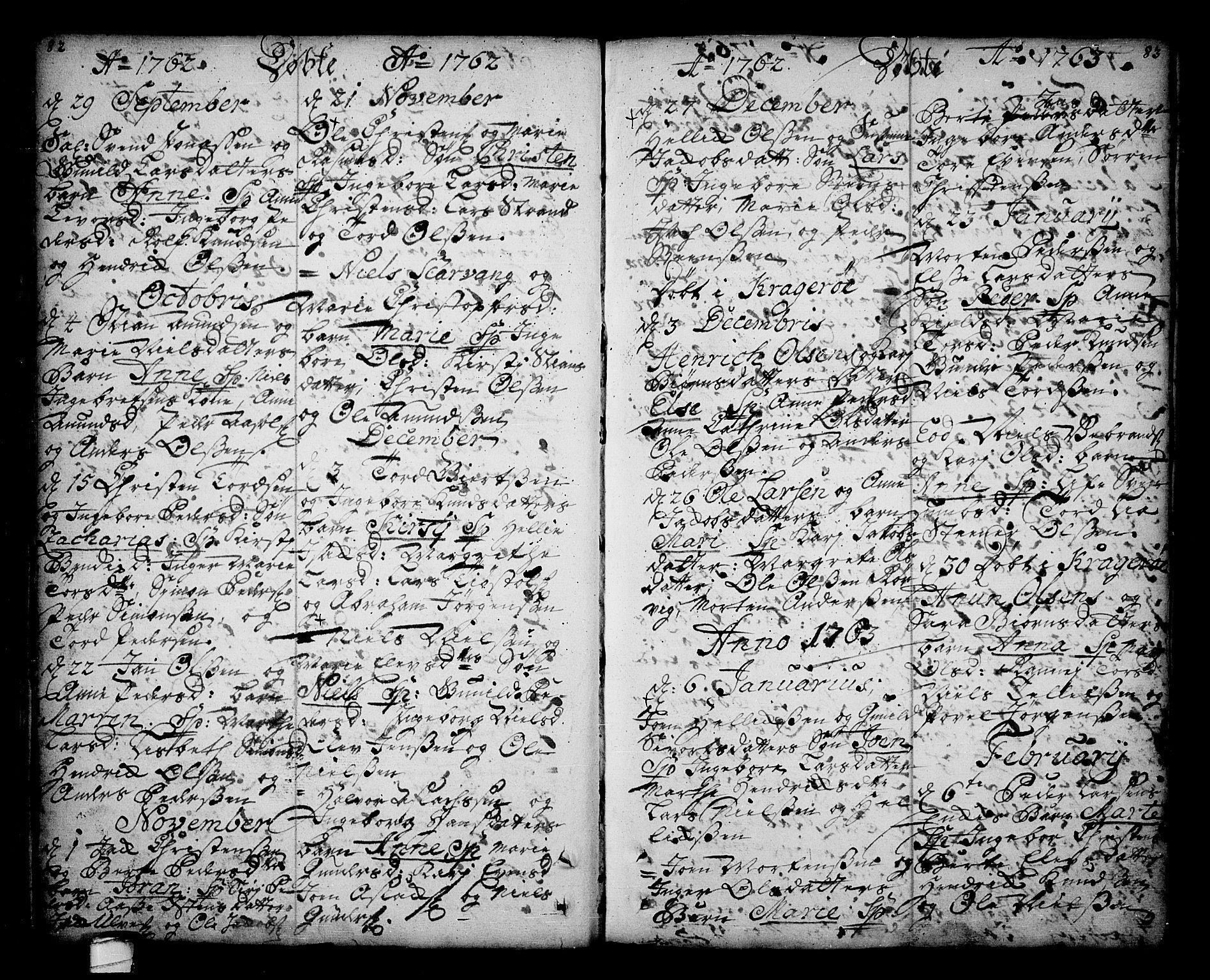 SAKO, Sannidal kirkebøker, F/Fa/L0001: Ministerialbok nr. 1, 1702-1766, s. 82-83