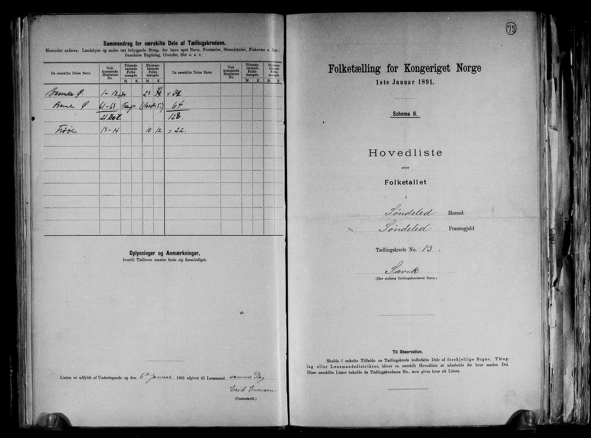RA, Folketelling 1891 for 0913 Søndeled herred, 1891, s. 29