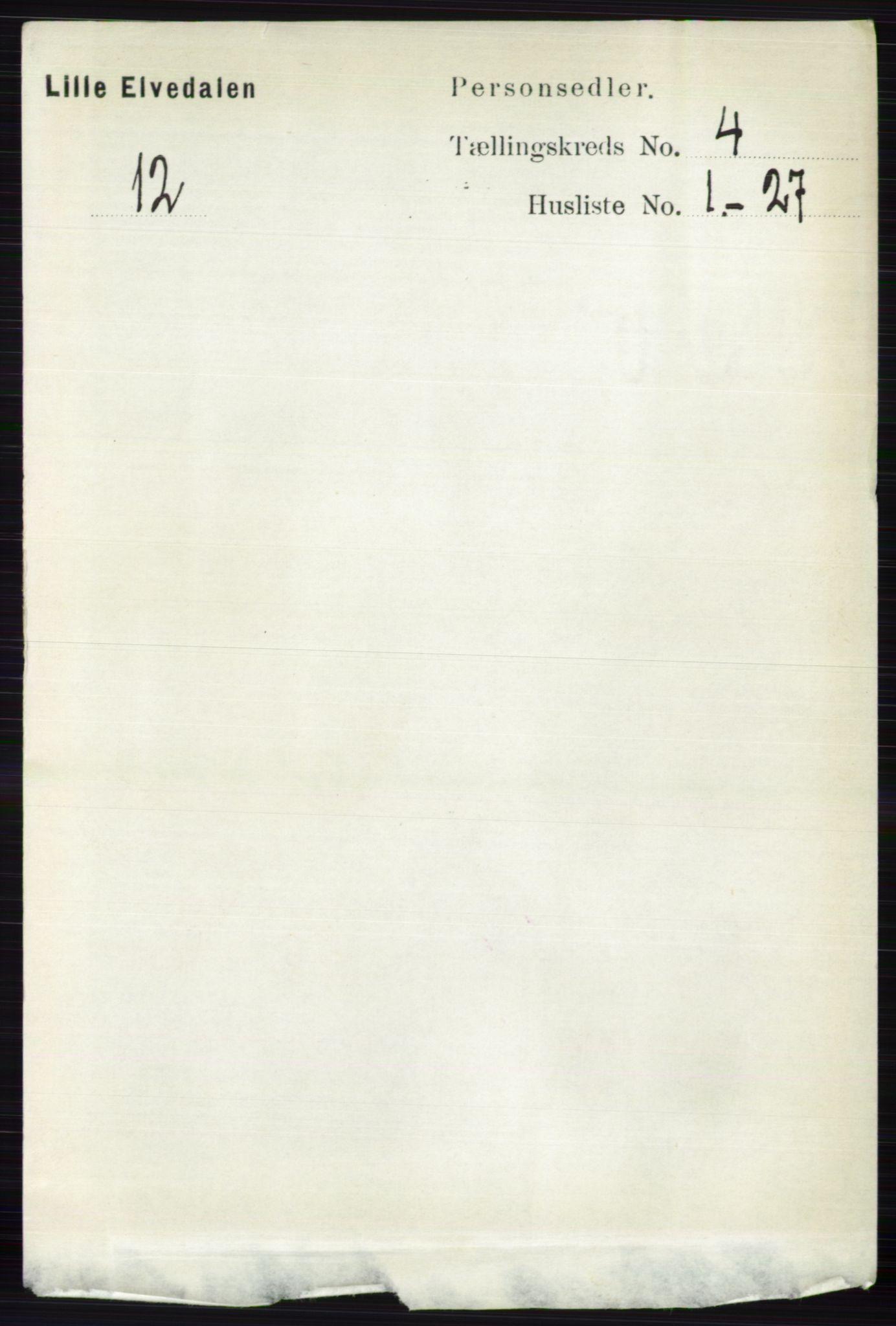 RA, Folketelling 1891 for 0438 Lille Elvedalen herred, 1891, s. 1323