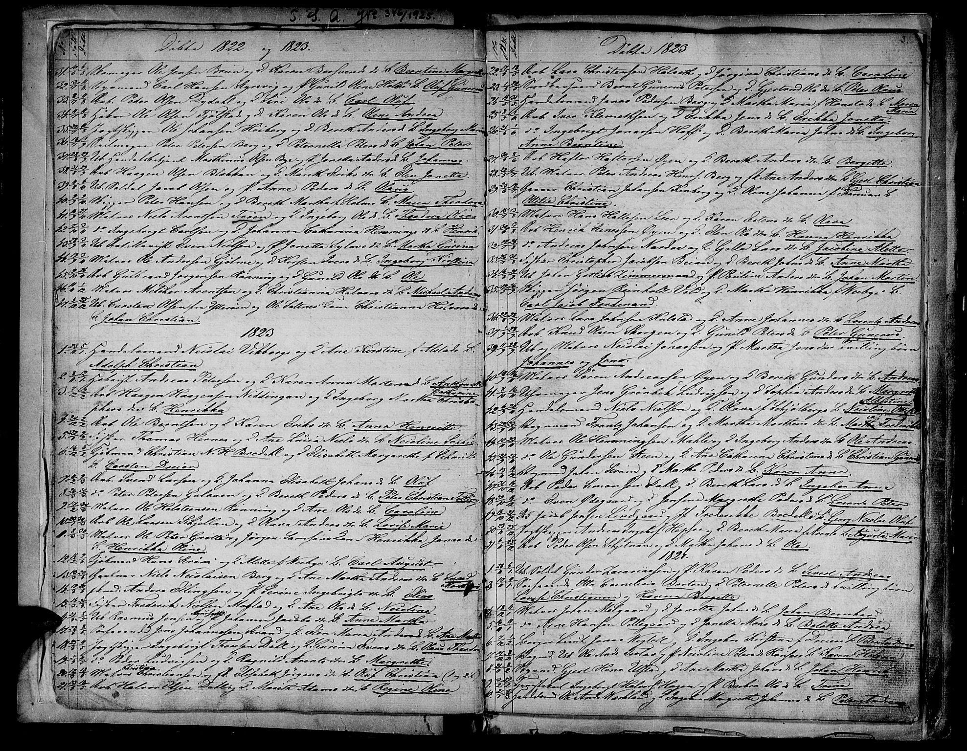 SAT, Ministerialprotokoller, klokkerbøker og fødselsregistre - Sør-Trøndelag, 604/L0182: Ministerialbok nr. 604A03, 1818-1850, s. 3