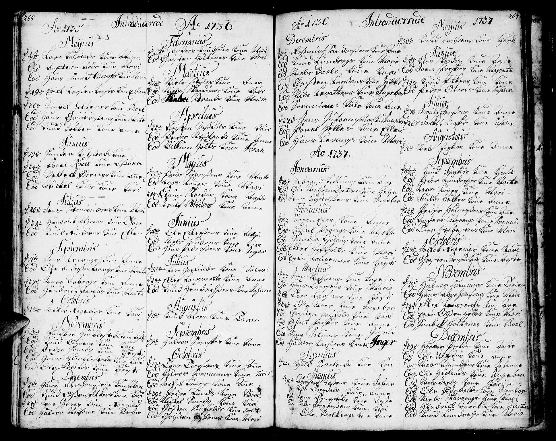 SAKO, Sannidal kirkebøker, F/Fa/L0001: Ministerialbok nr. 1, 1702-1766, s. 266-267