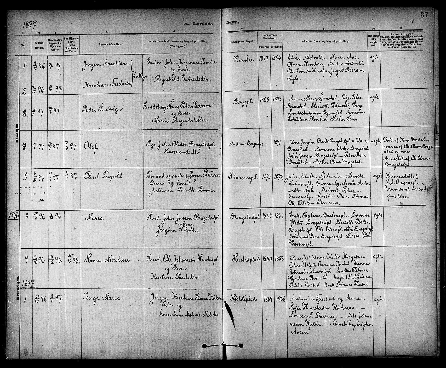 SAT, Ministerialprotokoller, klokkerbøker og fødselsregistre - Nord-Trøndelag, 732/L0318: Klokkerbok nr. 732C02, 1881-1911, s. 37