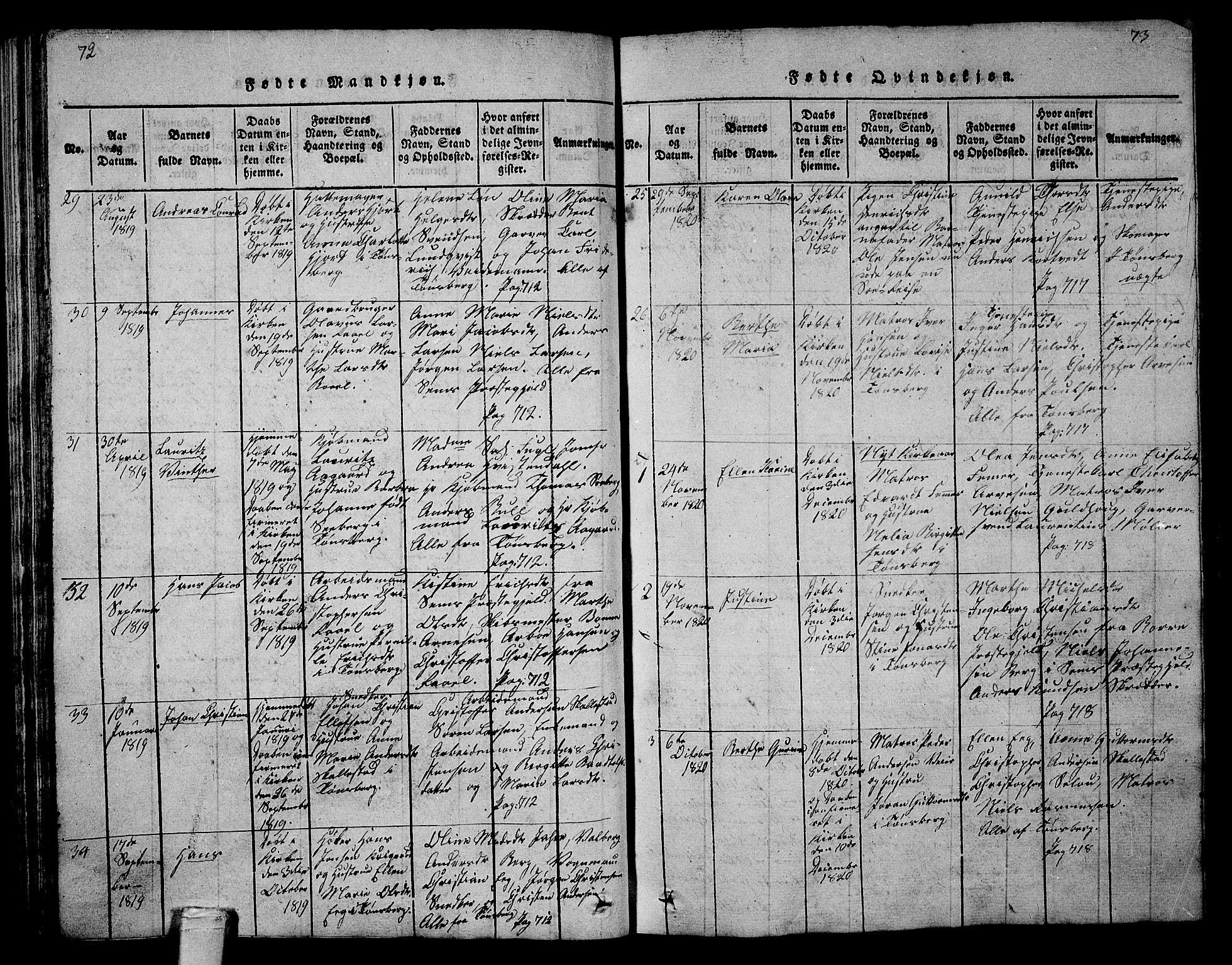 SAKO, Tønsberg kirkebøker, G/Ga/L0001: Klokkerbok nr. 1, 1813-1826, s. 72-73