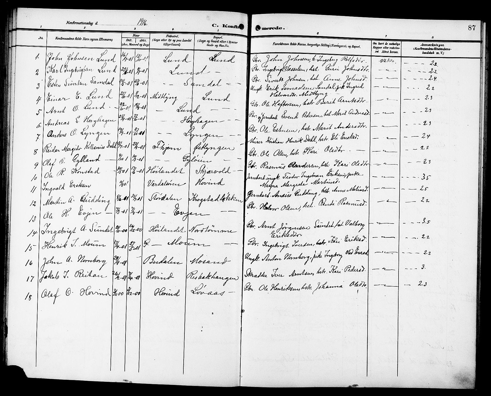 SAT, Ministerialprotokoller, klokkerbøker og fødselsregistre - Sør-Trøndelag, 692/L1112: Klokkerbok nr. 692C07, 1904-1918, s. 87