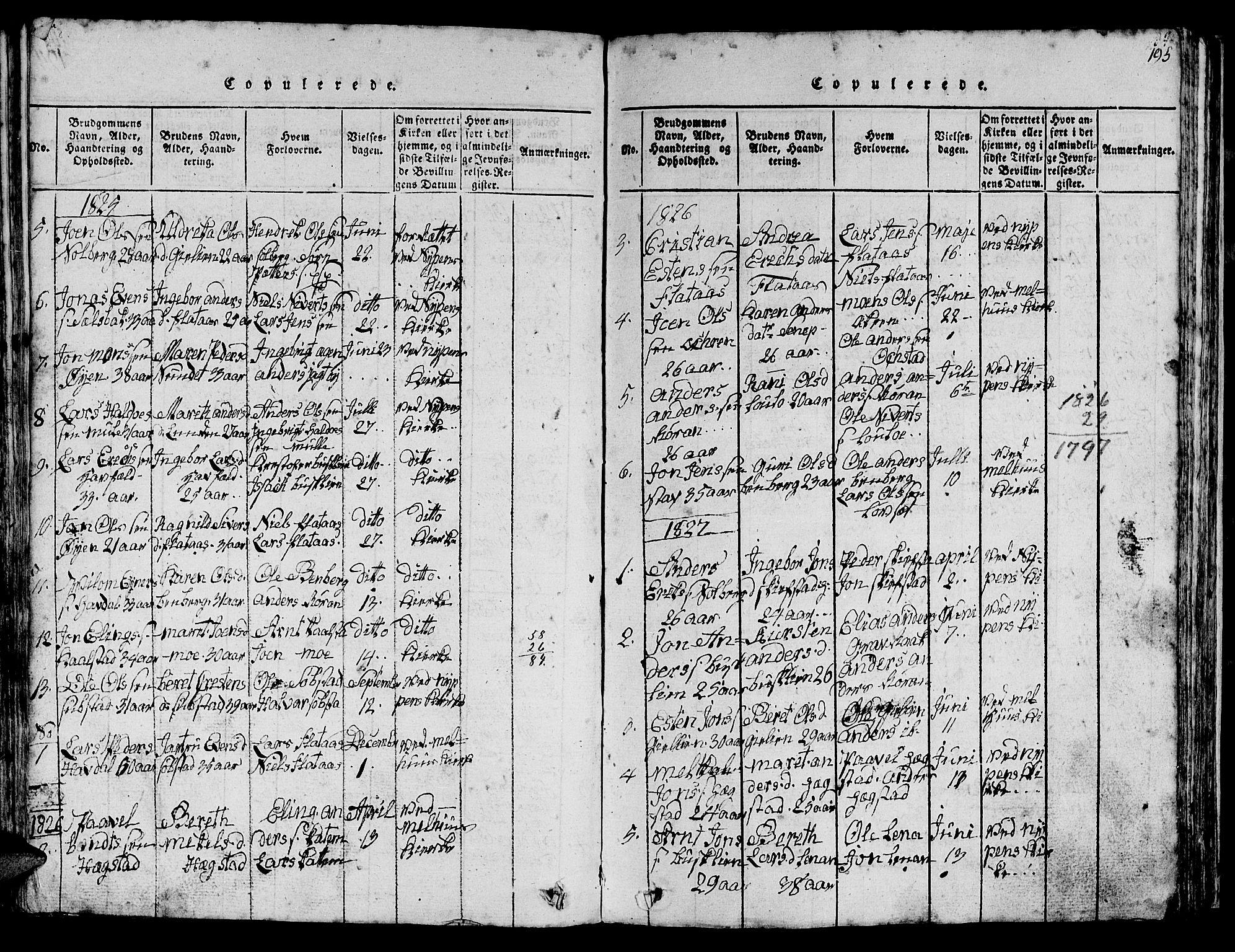 SAT, Ministerialprotokoller, klokkerbøker og fødselsregistre - Sør-Trøndelag, 613/L0393: Klokkerbok nr. 613C01, 1816-1886, s. 195