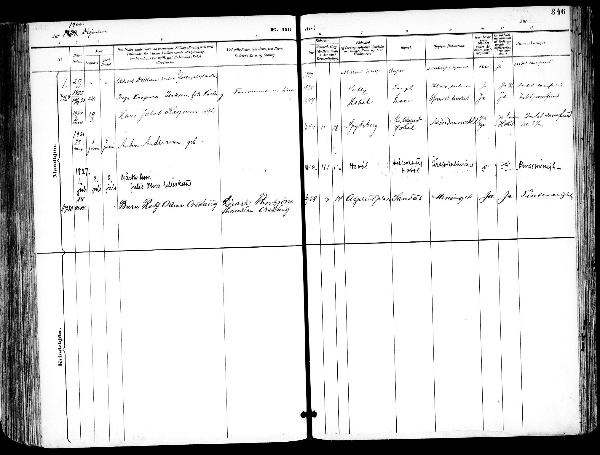 SAO, Kråkstad prestekontor Kirkebøker, F/Fa/L0010: Ministerialbok nr. I 10, 1893-1931, s. 346