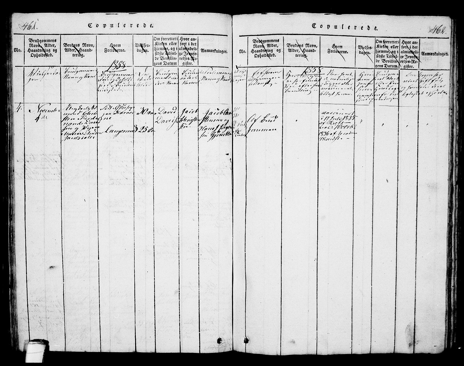 SAKO, Langesund kirkebøker, G/Ga/L0003: Klokkerbok nr. 3, 1815-1858, s. 461-462