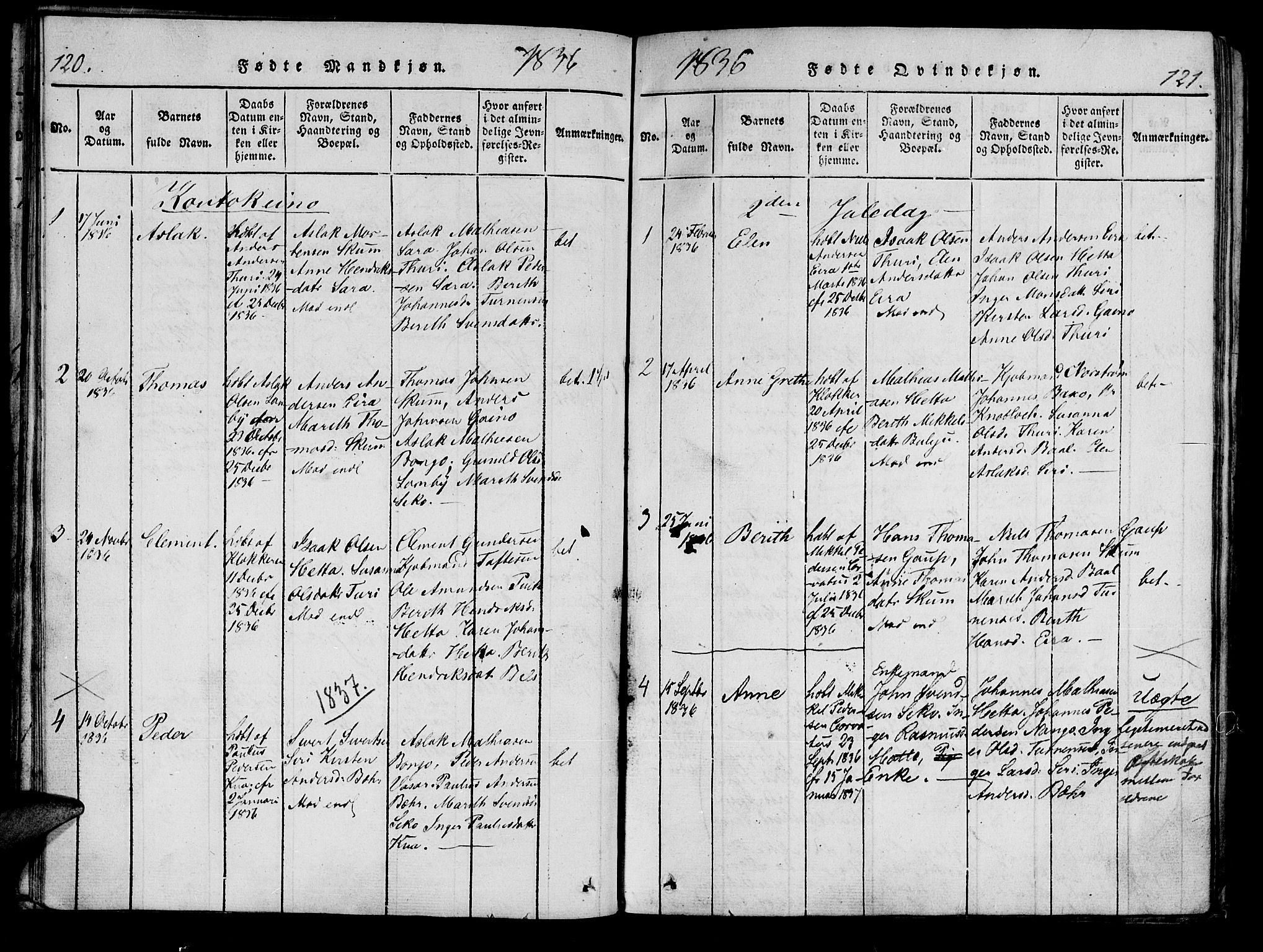SATØ, Kistrand/Porsanger sokneprestembete, Ministerialbok nr. 10, 1821-1842, s. 120-121