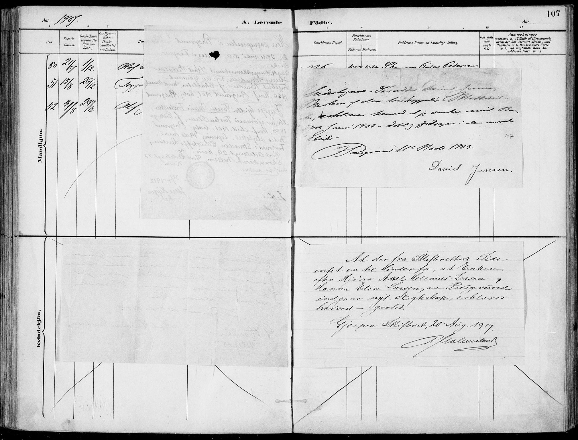 SAKO, Porsgrunn kirkebøker , F/Fa/L0010: Ministerialbok nr. 10, 1895-1919, s. 107