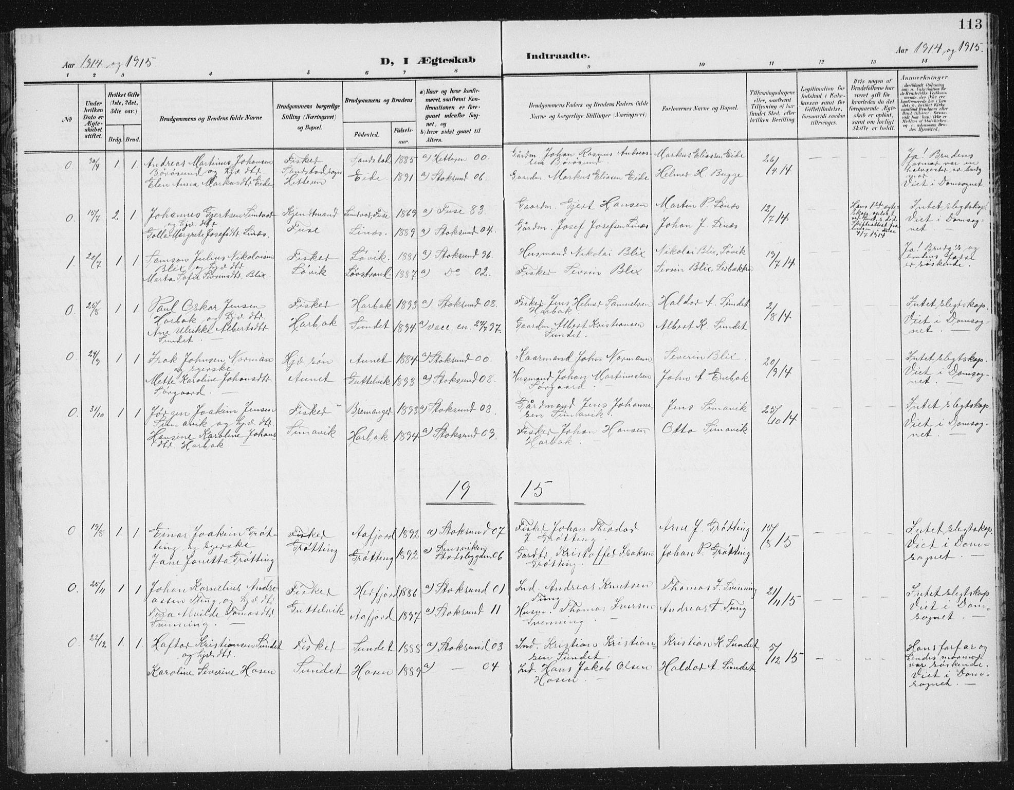 SAT, Ministerialprotokoller, klokkerbøker og fødselsregistre - Sør-Trøndelag, 656/L0699: Klokkerbok nr. 656C05, 1905-1920, s. 113