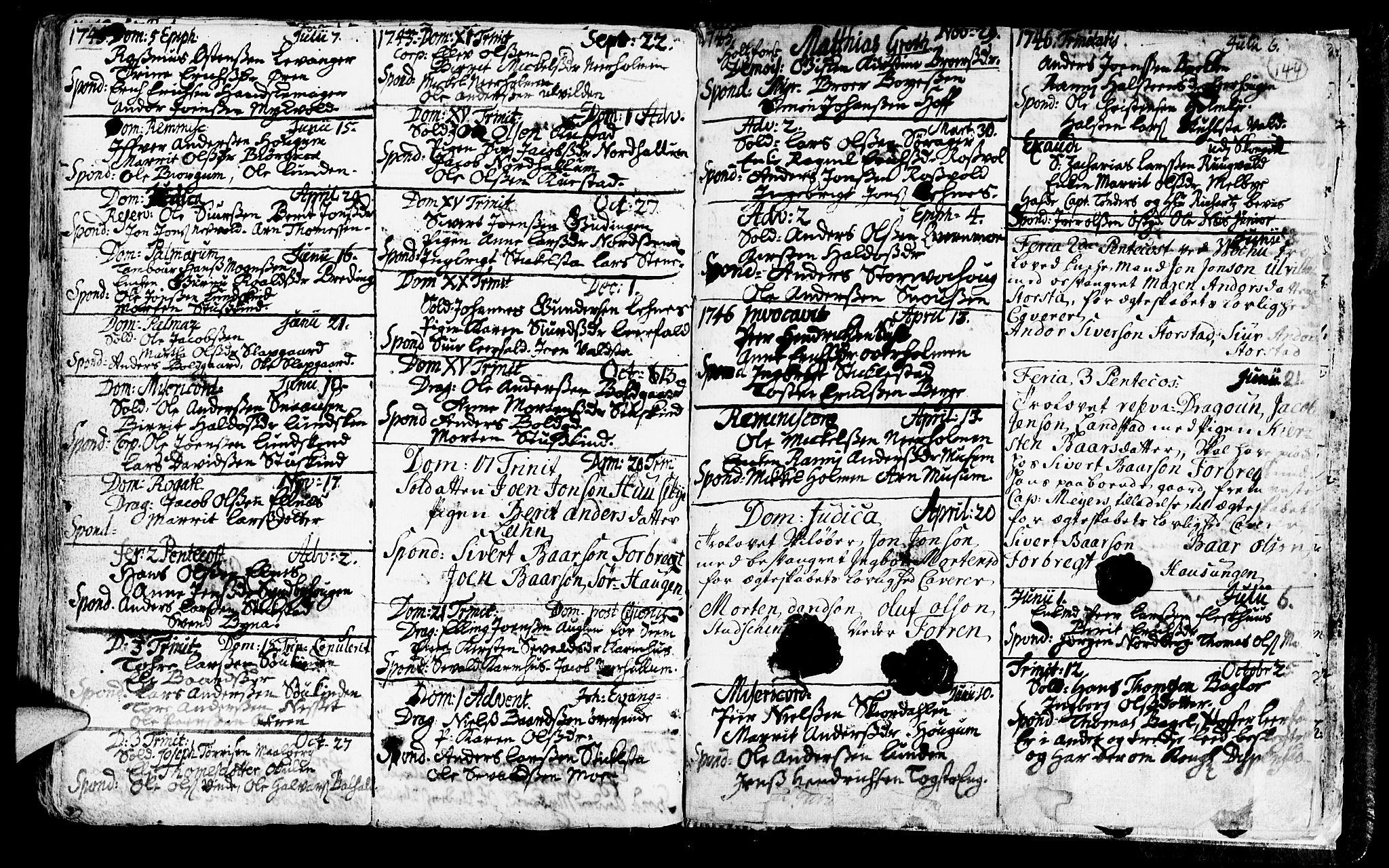 SAT, Ministerialprotokoller, klokkerbøker og fødselsregistre - Nord-Trøndelag, 723/L0230: Ministerialbok nr. 723A01, 1705-1747, s. 144