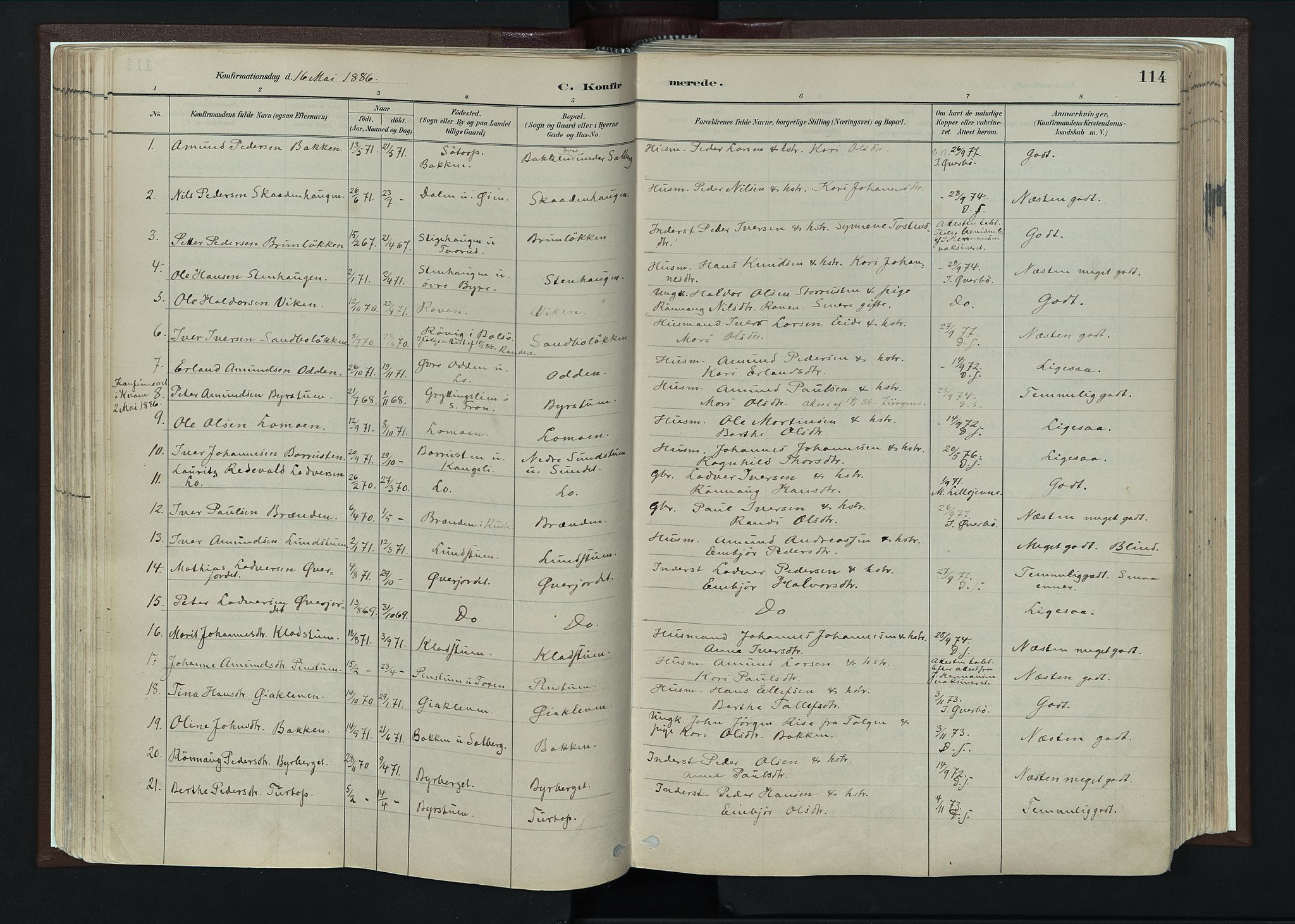 SAH, Nord-Fron prestekontor, Ministerialbok nr. 4, 1884-1914, s. 114