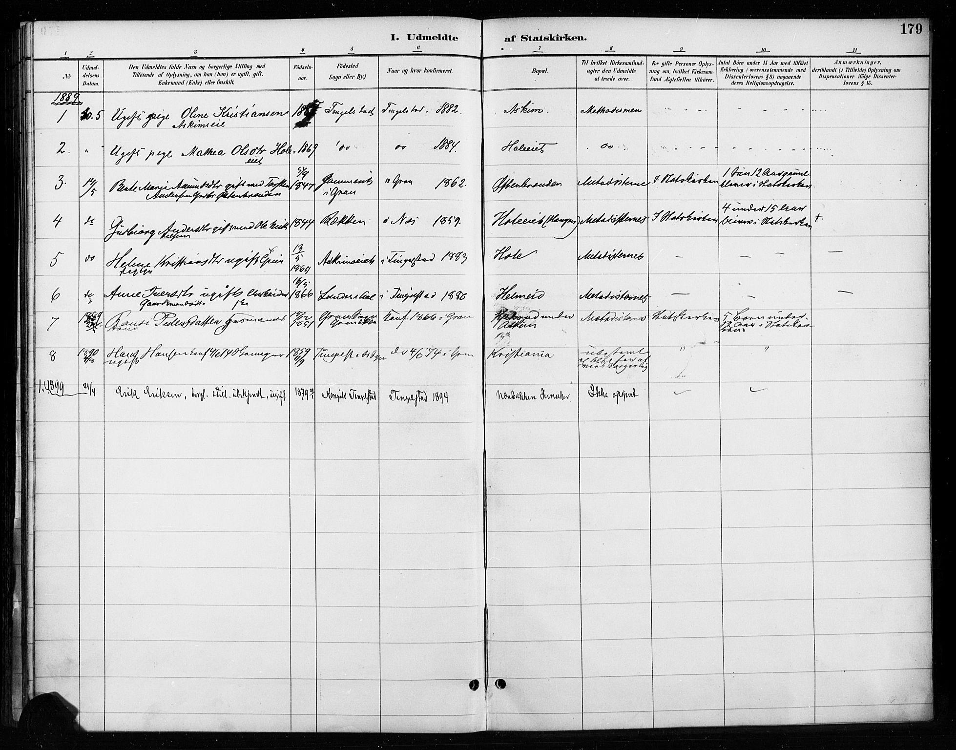 SAH, Gran prestekontor, Ministerialbok nr. 18, 1889-1899, s. 179