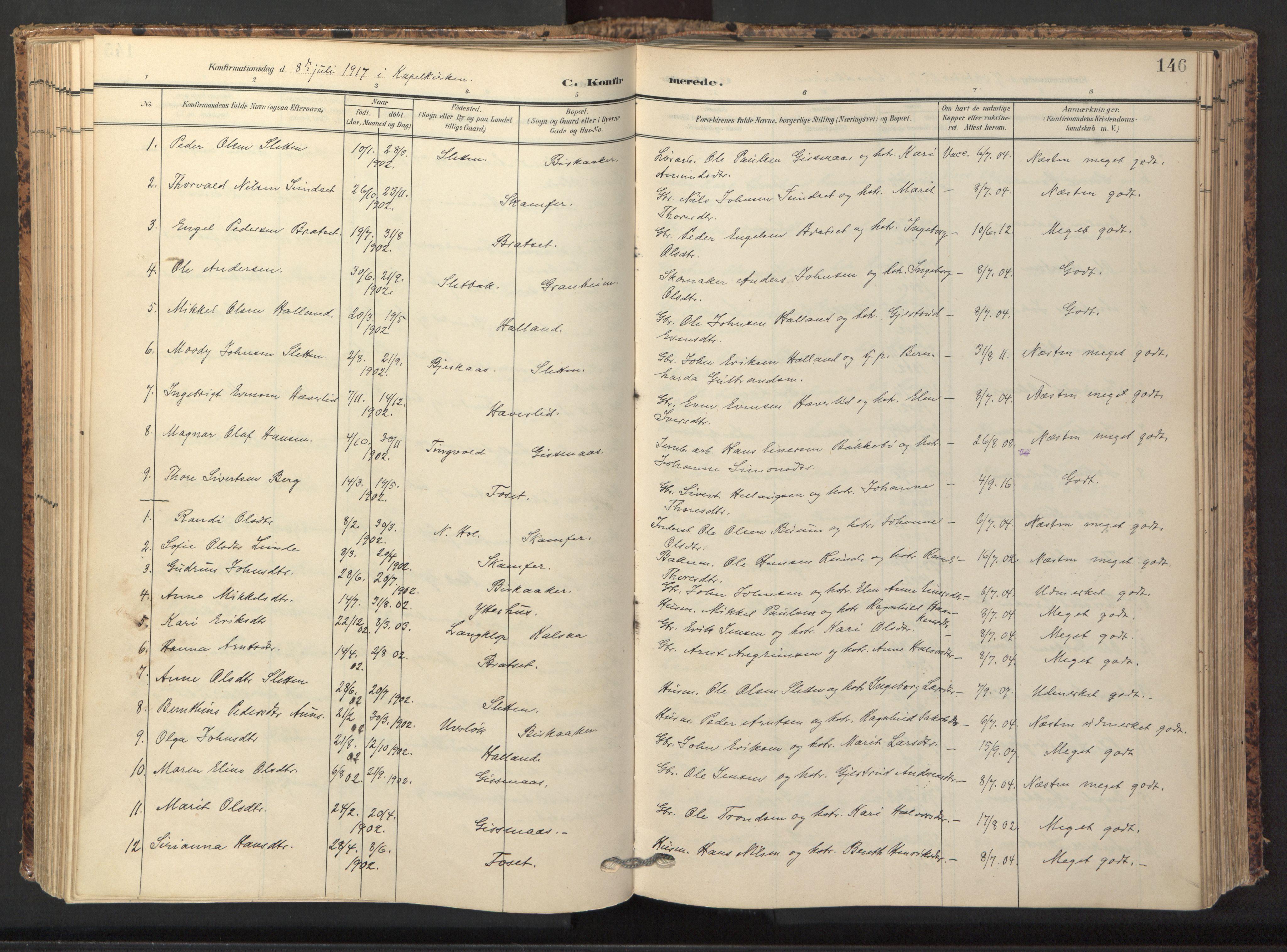 SAT, Ministerialprotokoller, klokkerbøker og fødselsregistre - Sør-Trøndelag, 674/L0873: Ministerialbok nr. 674A05, 1908-1923, s. 146