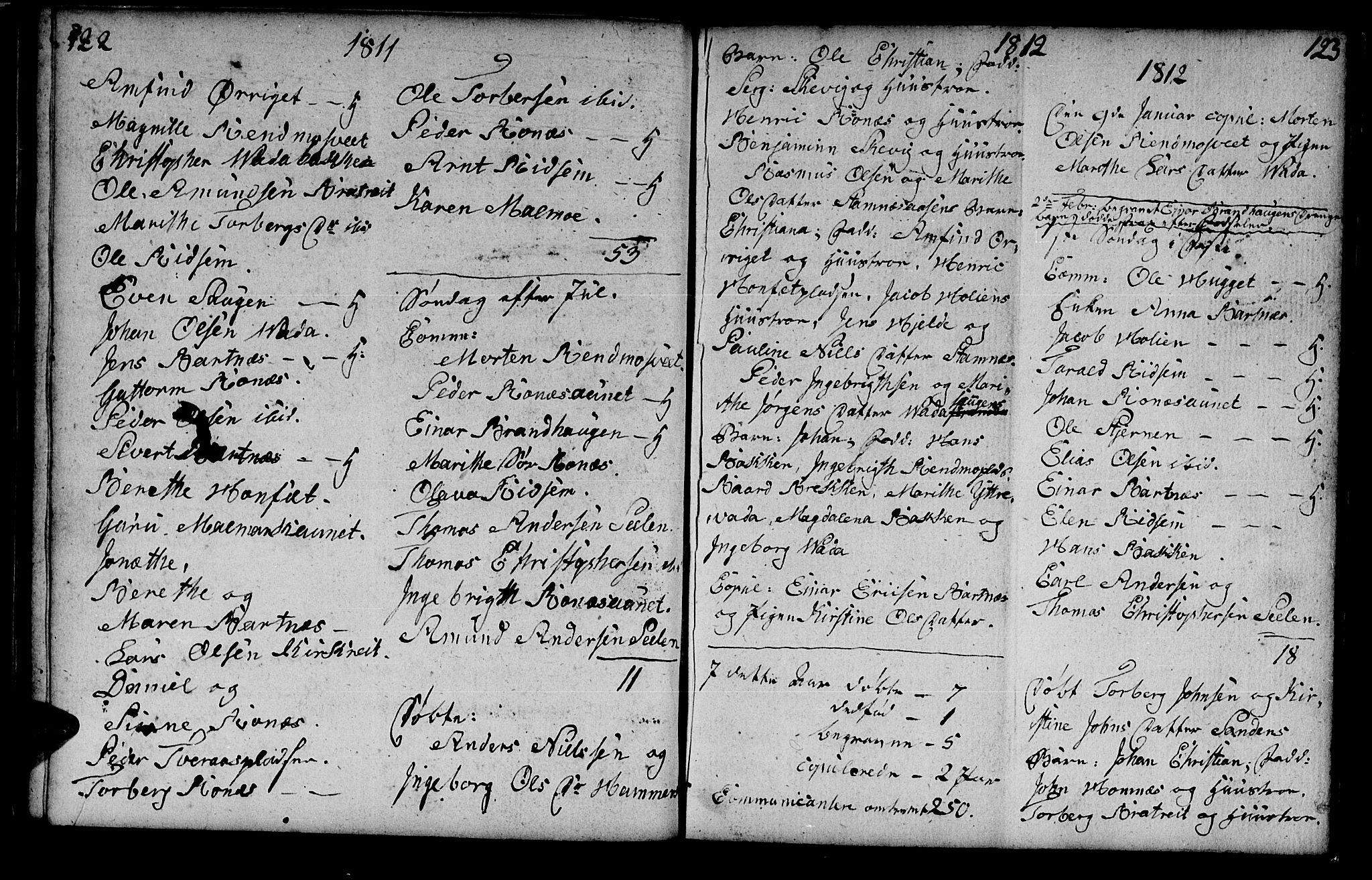 SAT, Ministerialprotokoller, klokkerbøker og fødselsregistre - Nord-Trøndelag, 745/L0432: Klokkerbok nr. 745C01, 1802-1814, s. 122-123