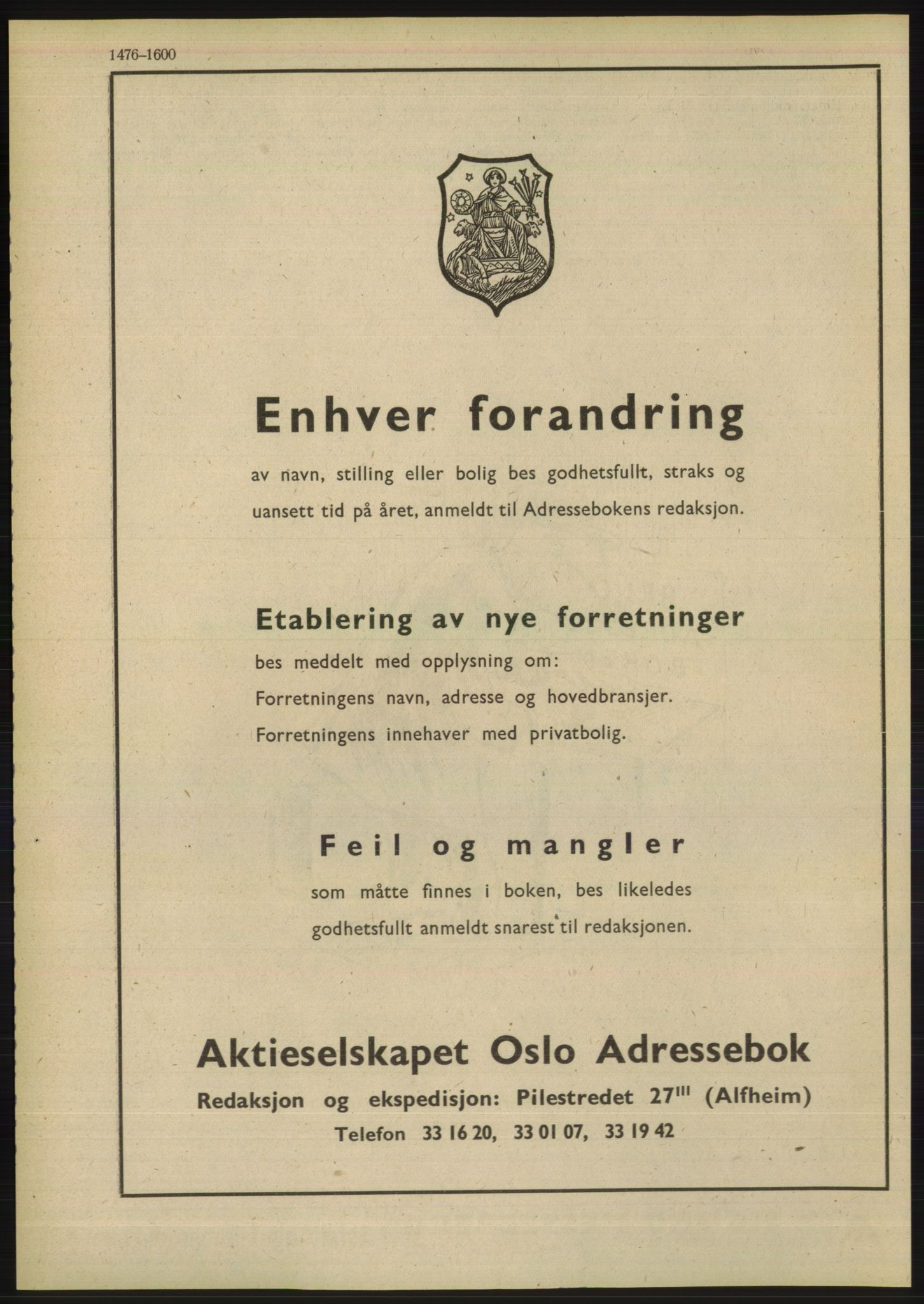 PUBL, Kristiania/Oslo adressebok, 1948, s. 1476