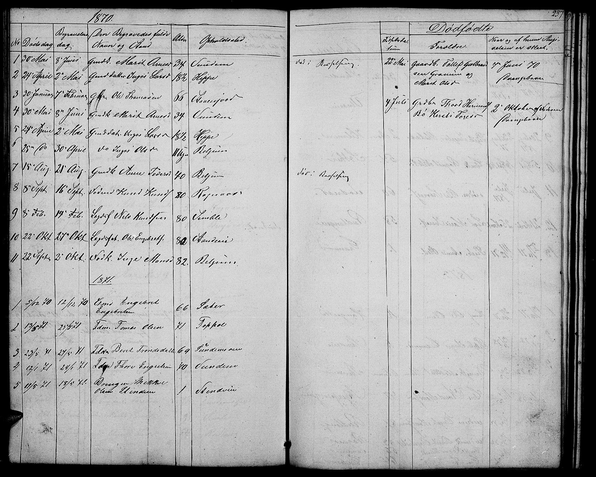 SAH, Nord-Aurdal prestekontor, Klokkerbok nr. 4, 1842-1882, s. 237