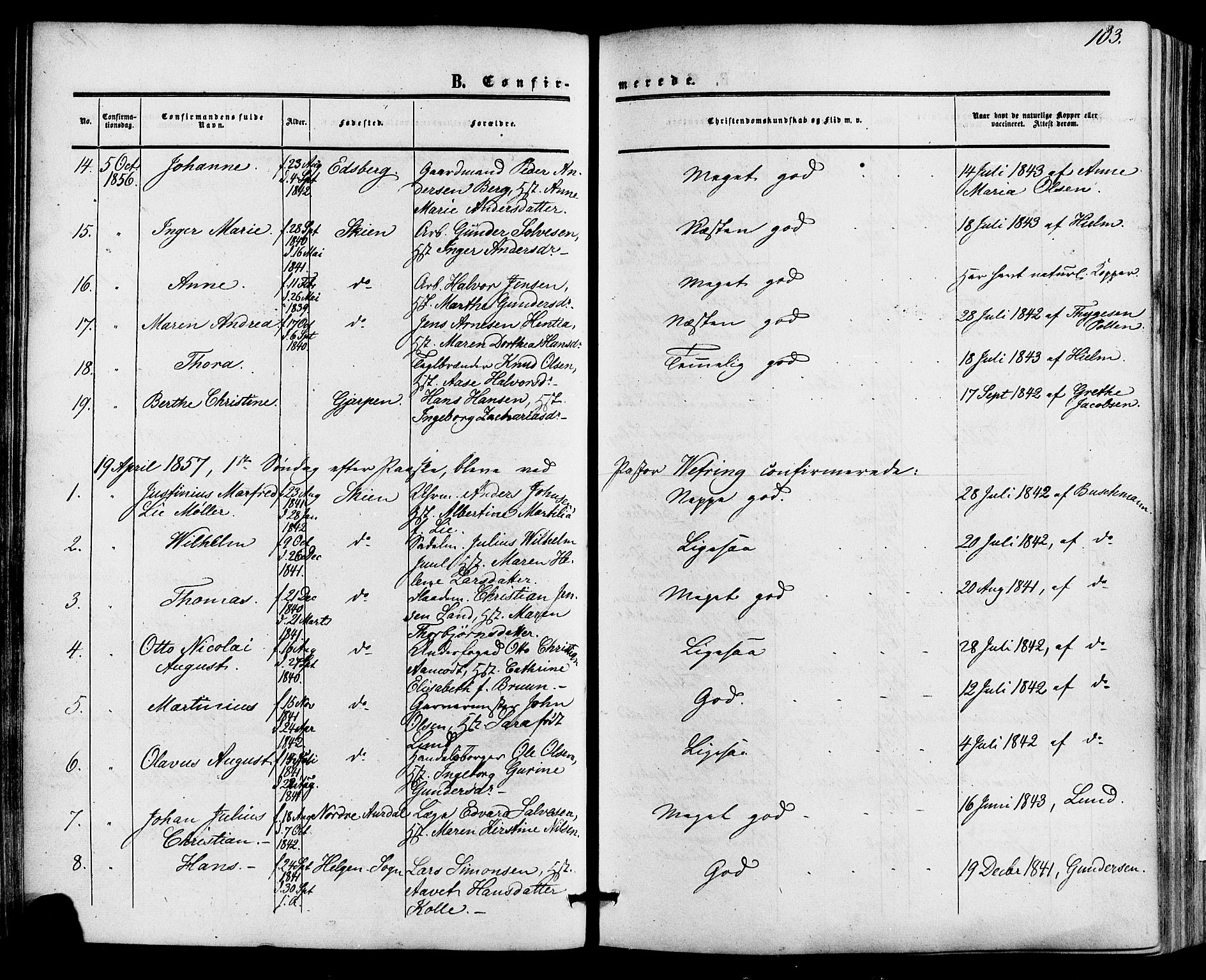 SAKO, Skien kirkebøker, F/Fa/L0007: Ministerialbok nr. 7, 1856-1865, s. 103