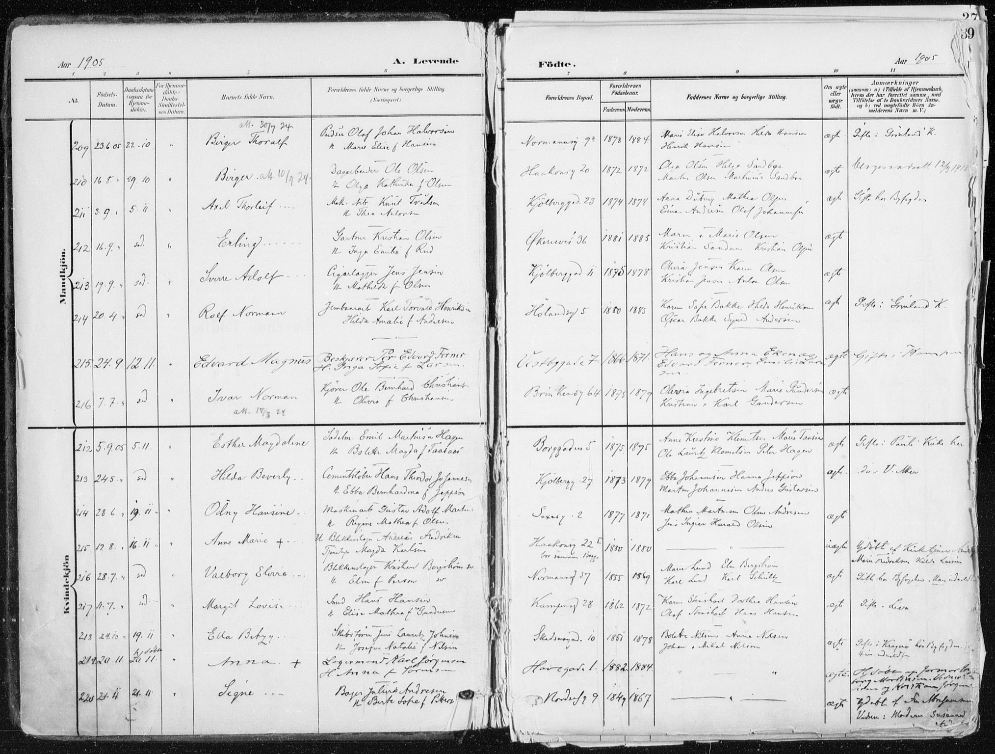 SAO, Kampen prestekontor Kirkebøker, F/Fa/L0010: Ministerialbok nr. I 10, 1905-1917, s. 1