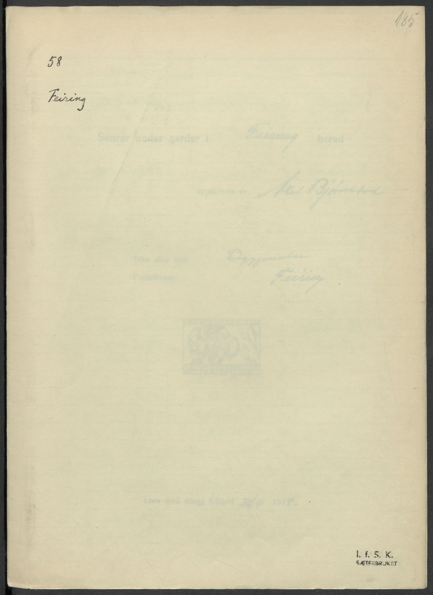 RA, Instituttet for sammenlignende kulturforskning, F/Fc/L0002: Eske B2:, 1932-1936, s. 185
