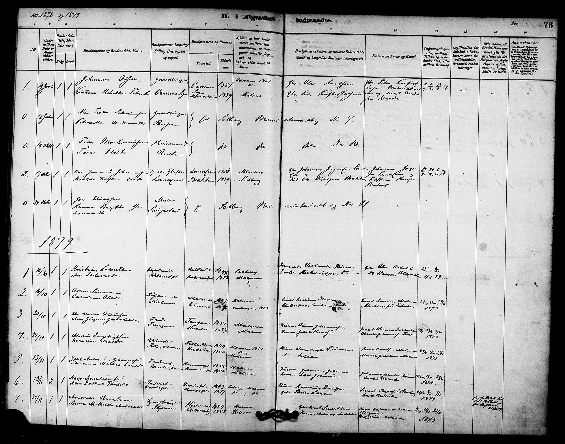 SAT, Ministerialprotokoller, klokkerbøker og fødselsregistre - Nord-Trøndelag, 745/L0429: Ministerialbok nr. 745A01, 1878-1894, s. 76