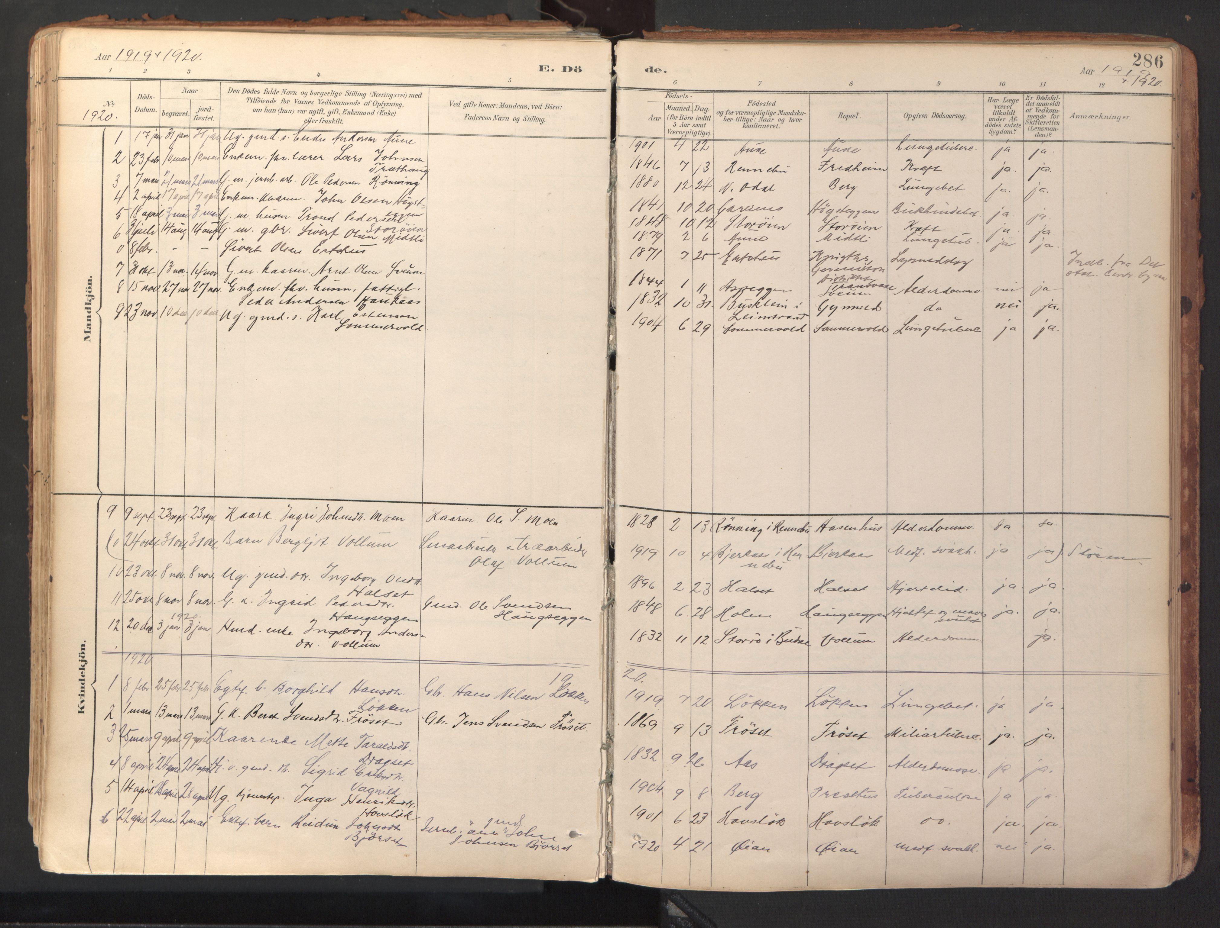 SAT, Ministerialprotokoller, klokkerbøker og fødselsregistre - Sør-Trøndelag, 689/L1041: Ministerialbok nr. 689A06, 1891-1923, s. 286