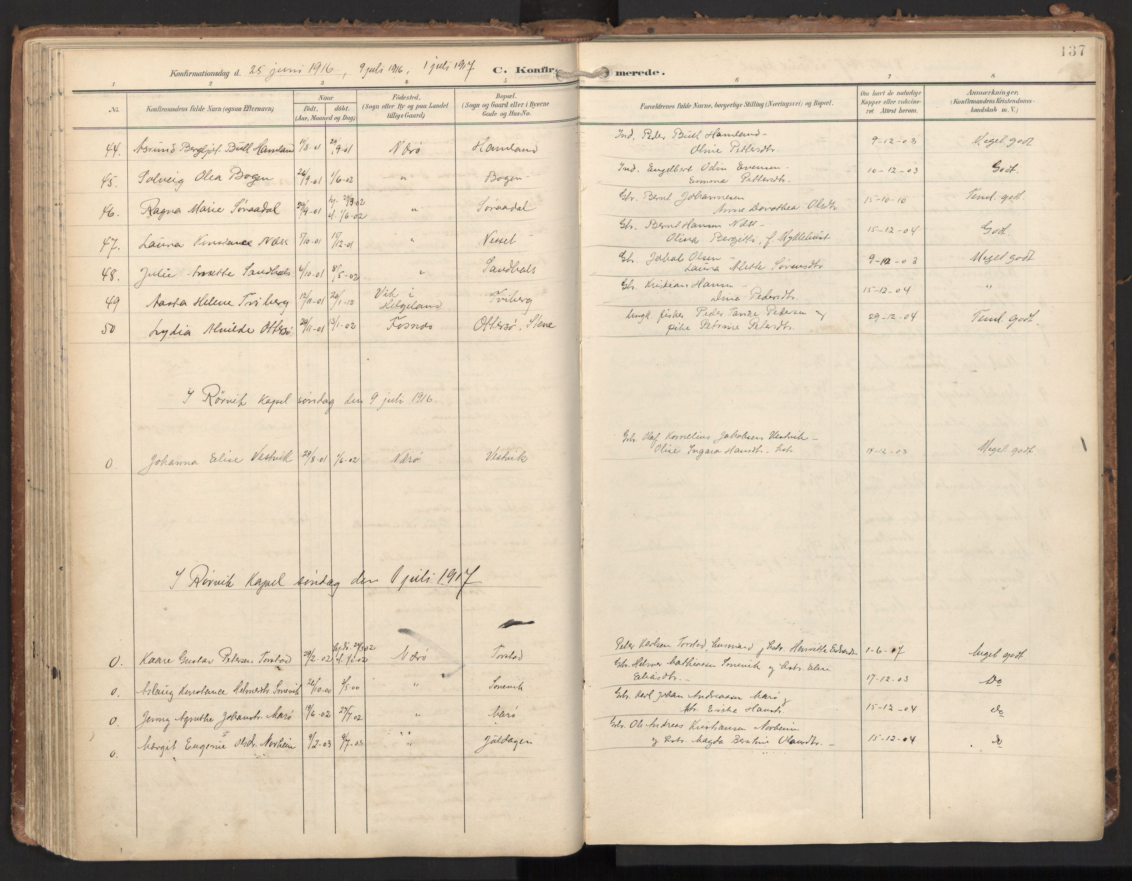 SAT, Ministerialprotokoller, klokkerbøker og fødselsregistre - Nord-Trøndelag, 784/L0677: Ministerialbok nr. 784A12, 1900-1920, s. 137