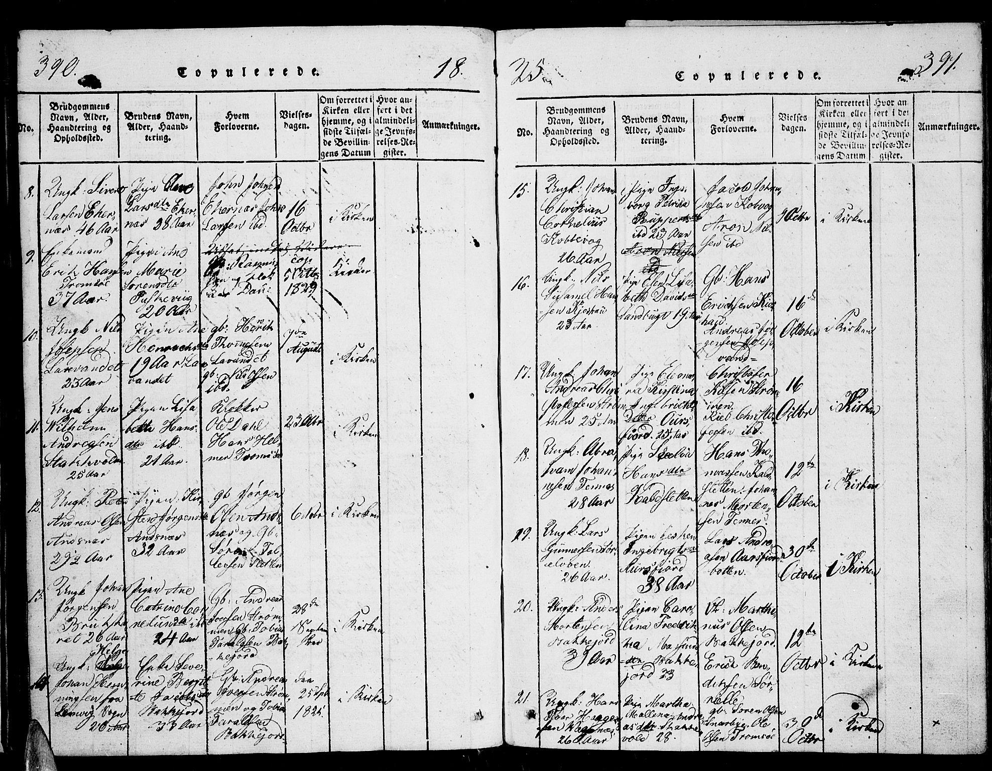 SATØ, Tromsø sokneprestkontor/stiftsprosti/domprosti, G/Ga/L0007kirke: Ministerialbok nr. 7, 1821-1828, s. 390-391