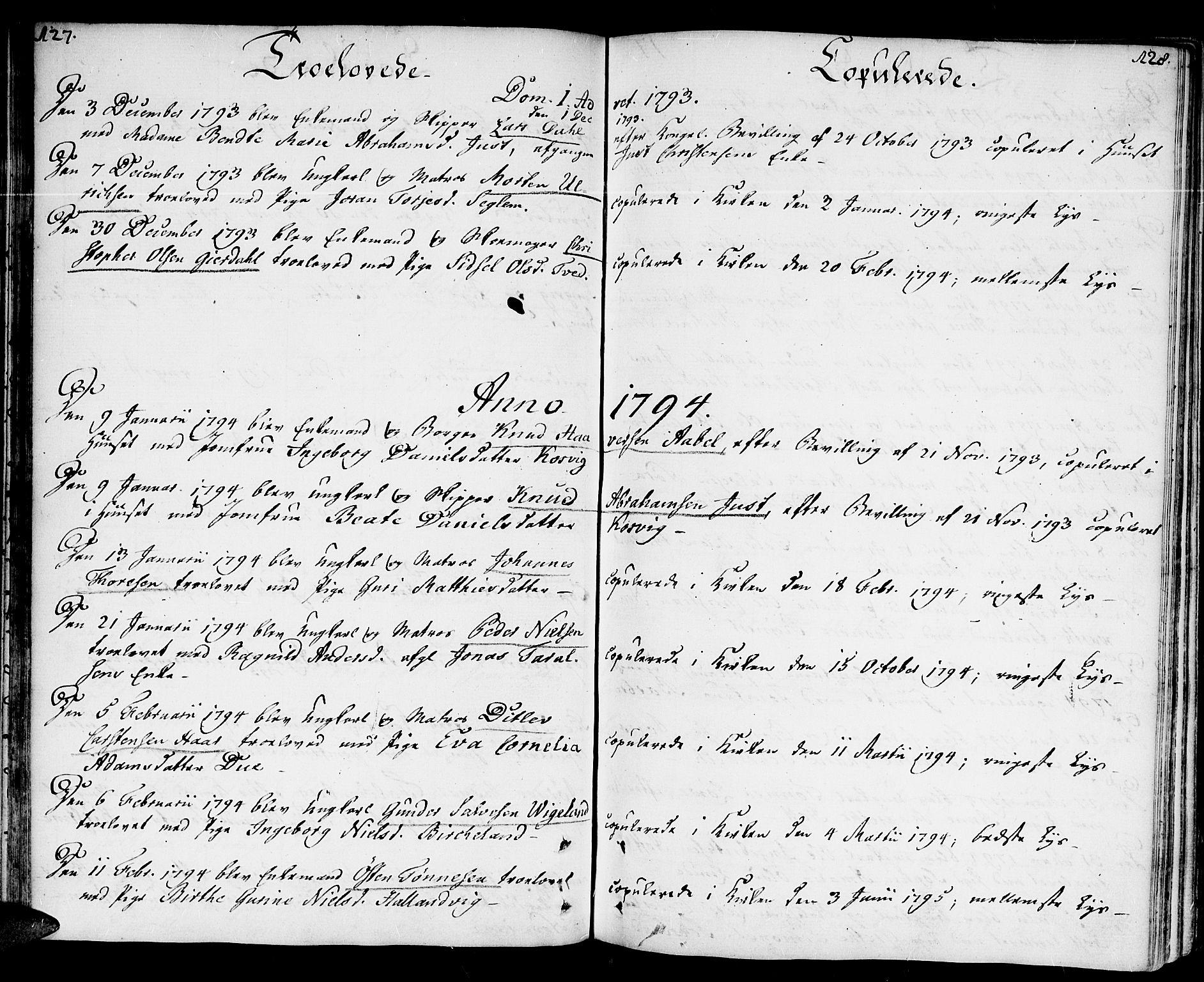 SAK, Kristiansand domprosti, F/Fa/L0005: Ministerialbok nr. A 5, 1776-1818, s. 127-128