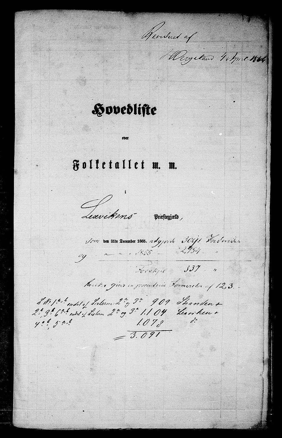 RA, Folketelling 1865 for 1718P Leksvik prestegjeld, 1865, s. 5