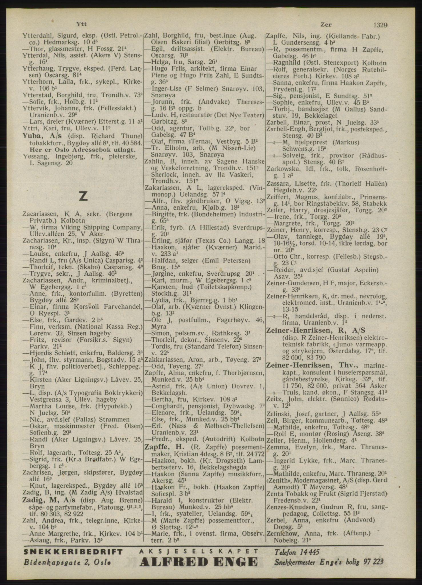RA, Oslo adressebok (publikasjon)*, 1946, s. 1329
