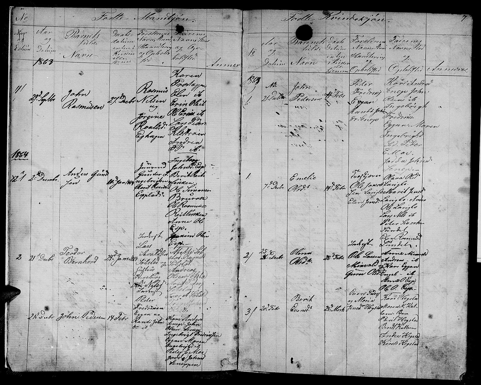 SAT, Ministerialprotokoller, klokkerbøker og fødselsregistre - Sør-Trøndelag, 613/L0394: Klokkerbok nr. 613C02, 1862-1886, s. 7
