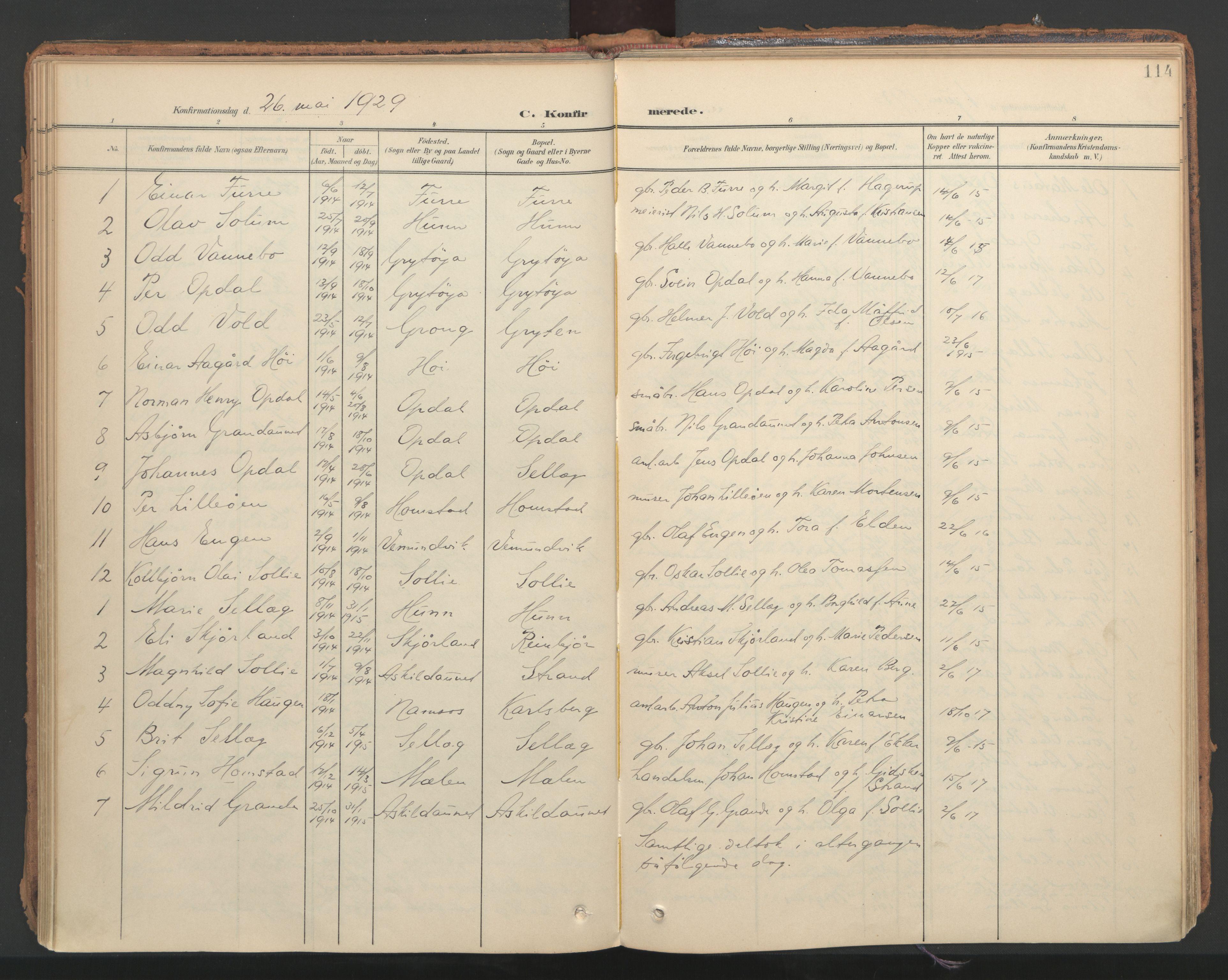 SAT, Ministerialprotokoller, klokkerbøker og fødselsregistre - Nord-Trøndelag, 766/L0564: Ministerialbok nr. 767A02, 1900-1932, s. 114
