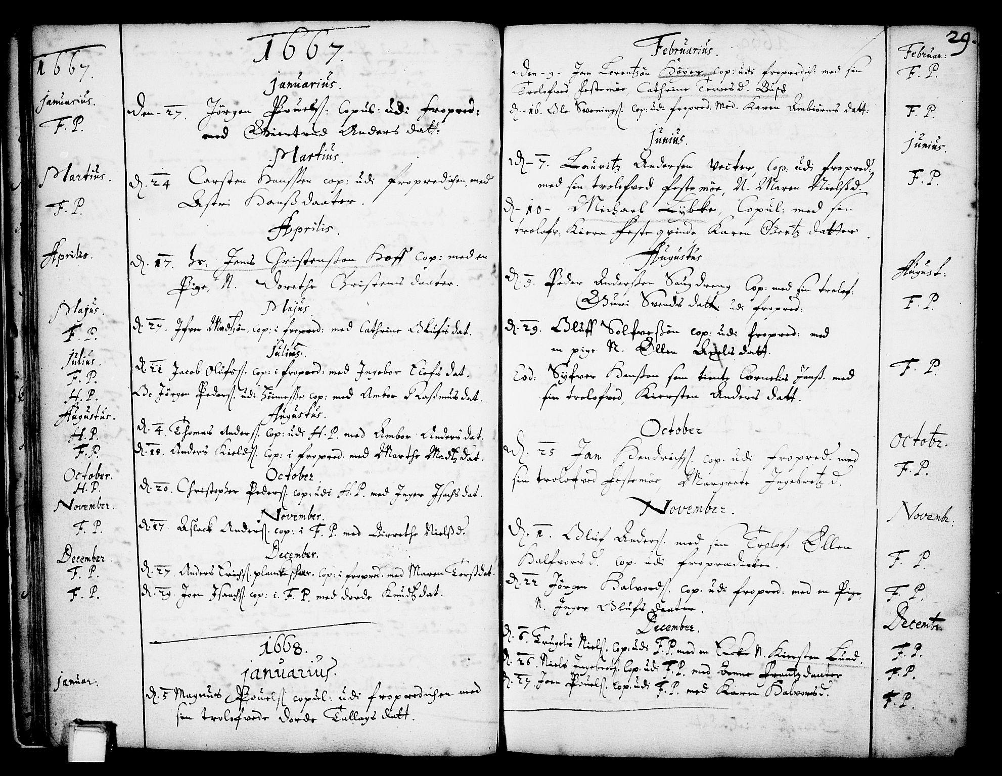 SAKO, Skien kirkebøker, F/Fa/L0001: Ministerialbok nr. 1, 1659-1679, s. 29