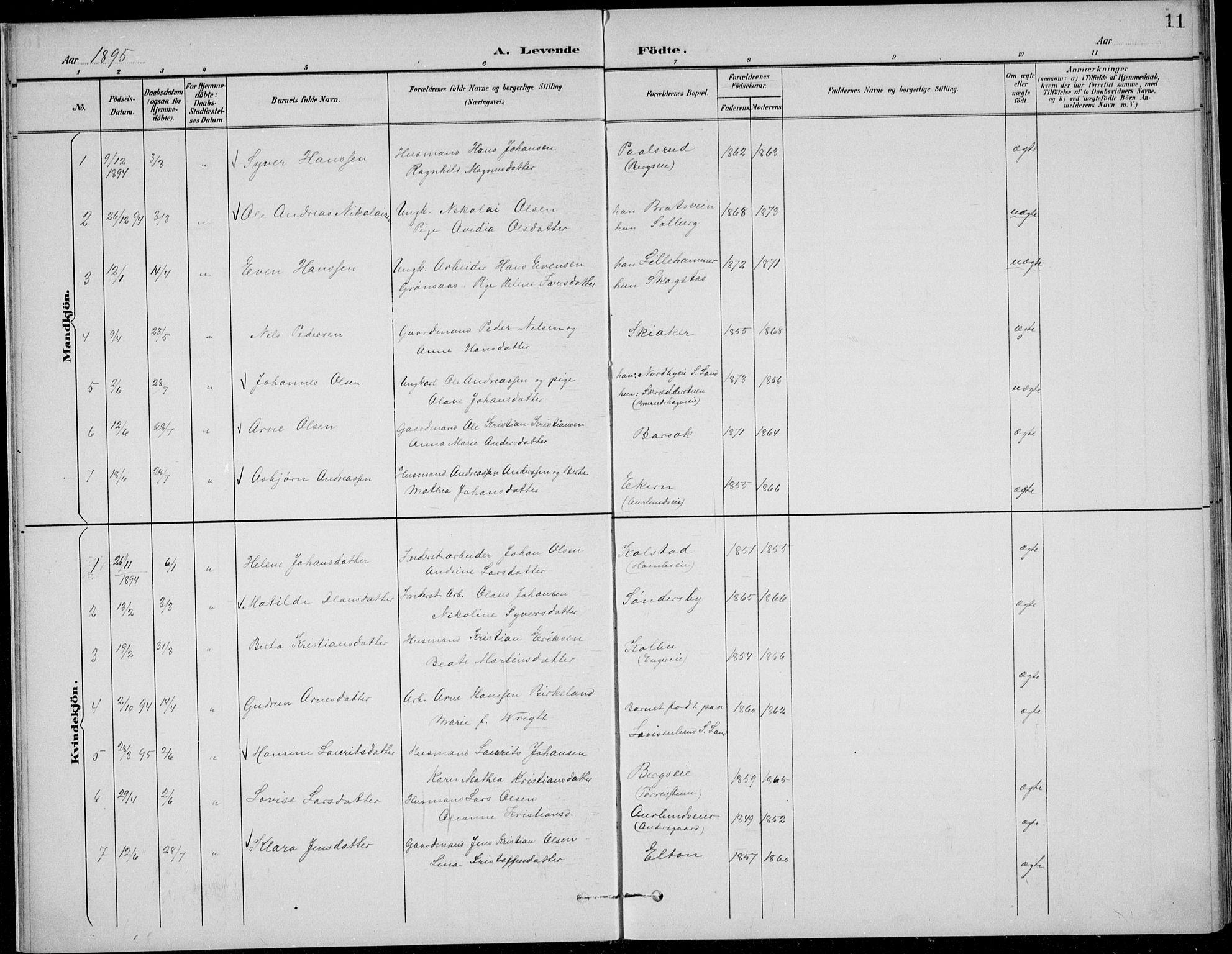 SAH, Nordre Land prestekontor, Klokkerbok nr. 14, 1891-1907, s. 11