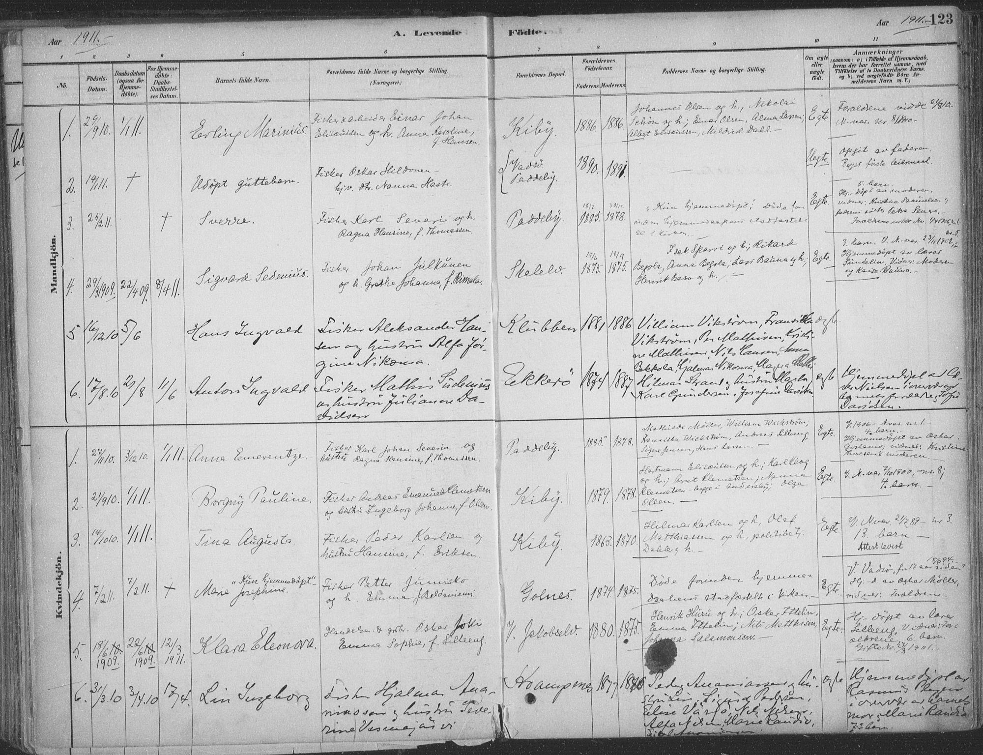 SATØ, Vadsø sokneprestkontor, H/Ha/L0009kirke: Ministerialbok nr. 9, 1881-1917, s. 123