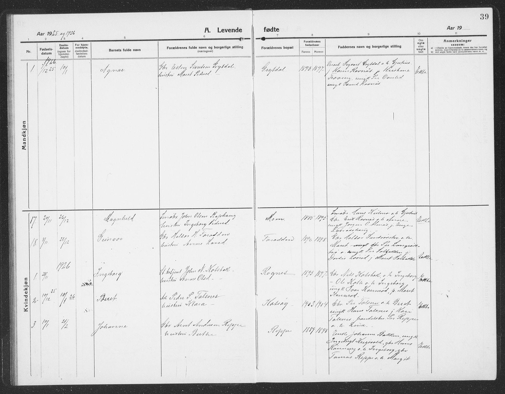 SAT, Ministerialprotokoller, klokkerbøker og fødselsregistre - Sør-Trøndelag, 688/L1030: Klokkerbok nr. 688C05, 1916-1939, s. 39