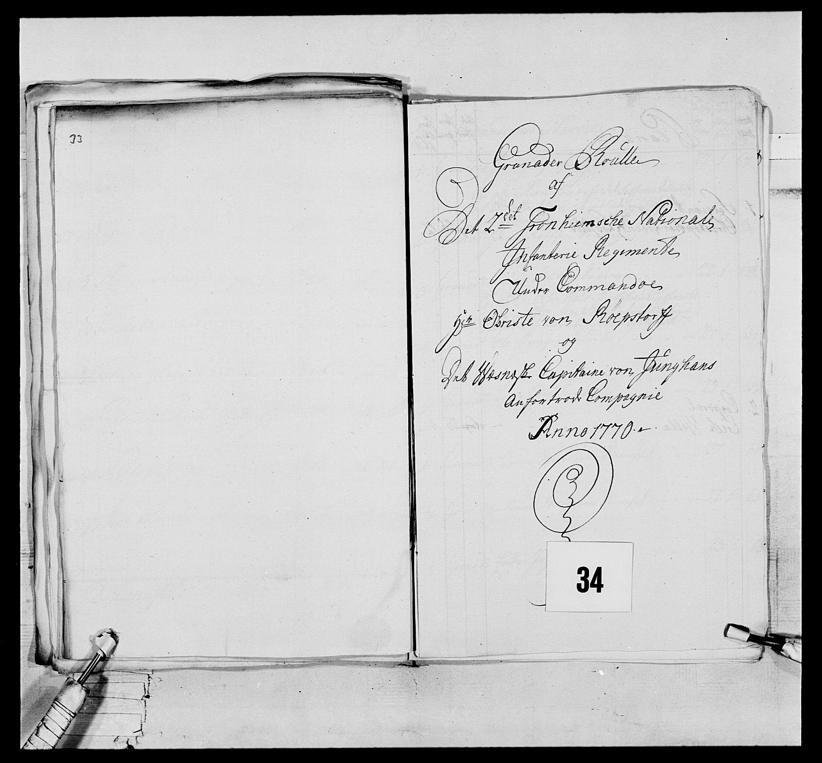 RA, Generalitets- og kommissariatskollegiet, Det kongelige norske kommissariatskollegium, E/Eh/L0076: 2. Trondheimske nasjonale infanteriregiment, 1766-1773, s. 102