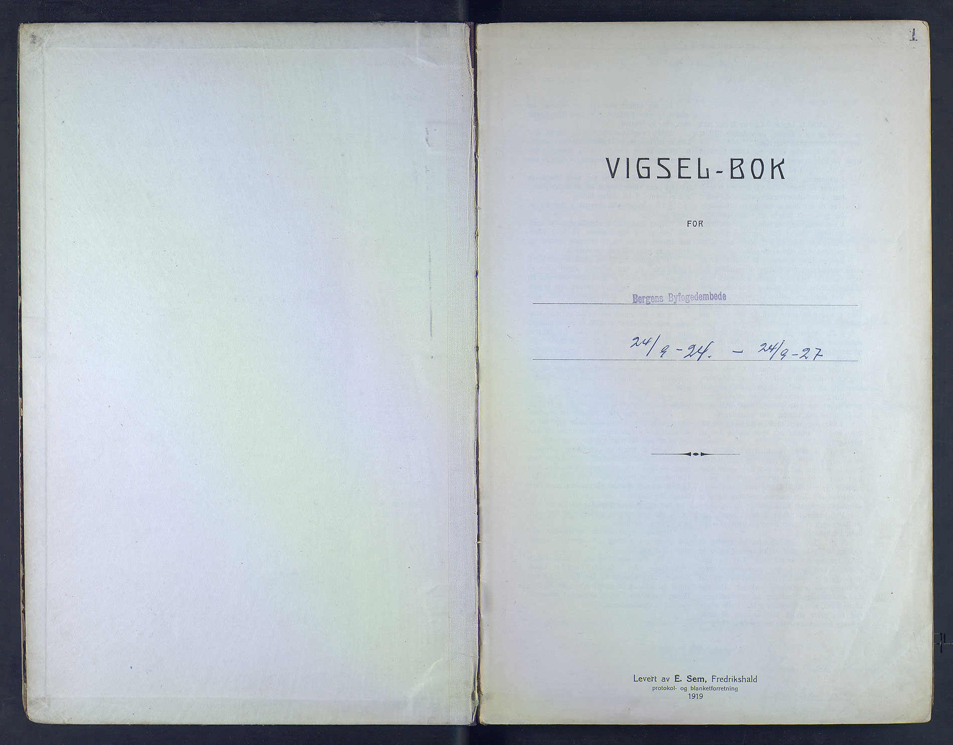 SAB, Bergen byfogd og byskriver*, 1924-1927, s. 1a
