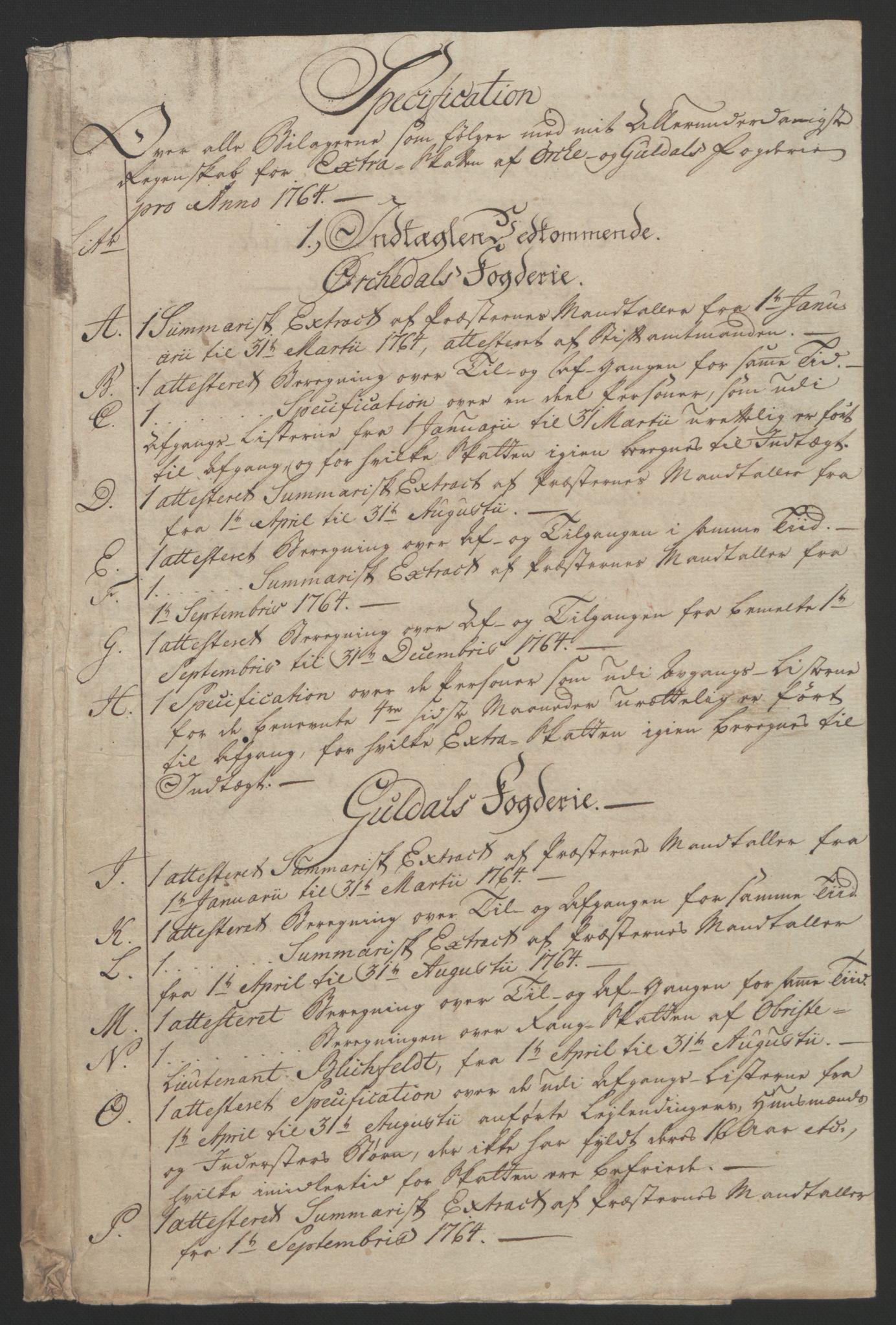 RA, Rentekammeret inntil 1814, Reviderte regnskaper, Fogderegnskap, R60/L4094: Ekstraskatten Orkdal og Gauldal, 1762-1765, s. 140