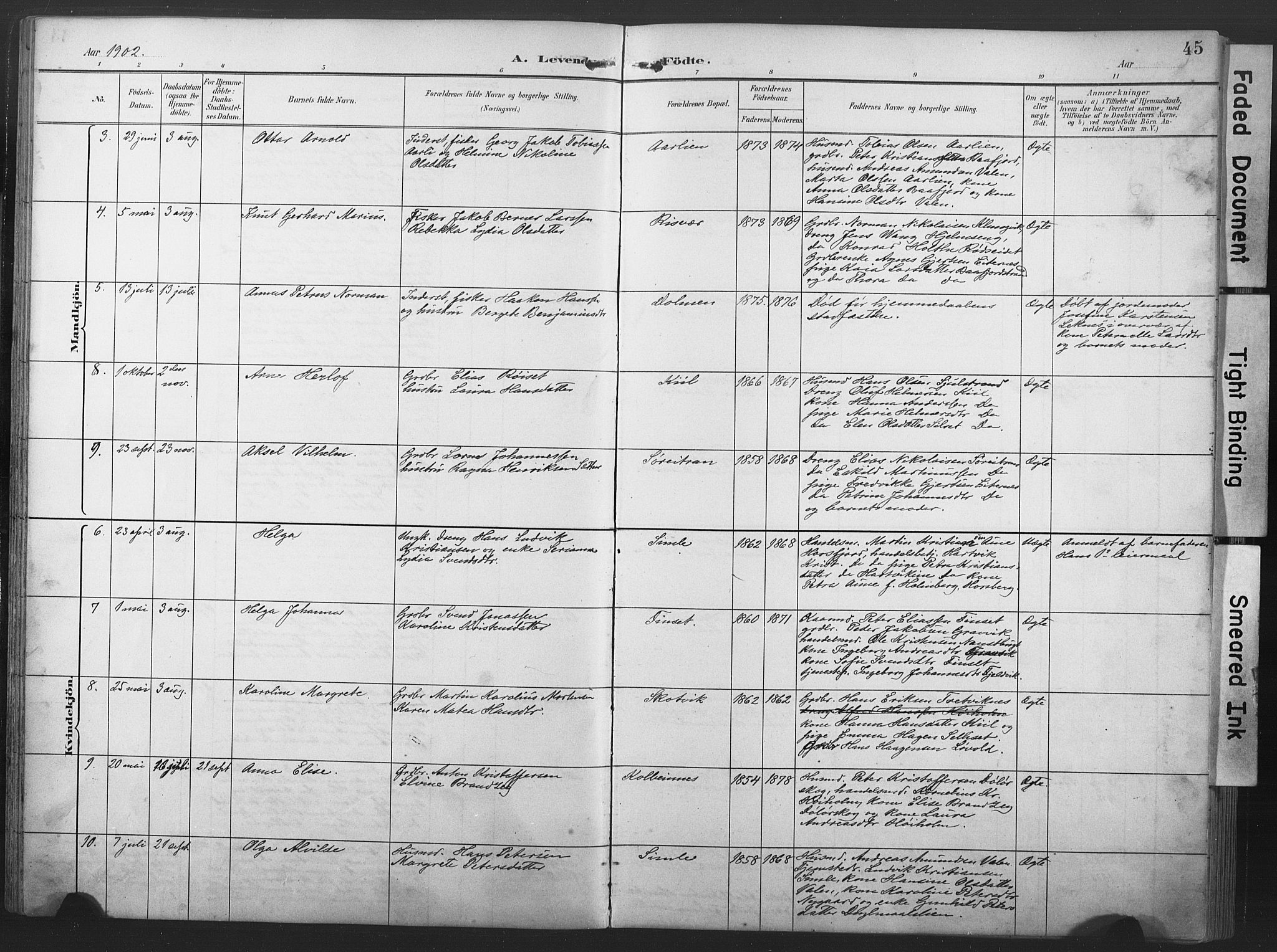 SAT, Ministerialprotokoller, klokkerbøker og fødselsregistre - Nord-Trøndelag, 789/L0706: Klokkerbok nr. 789C01, 1888-1931, s. 45